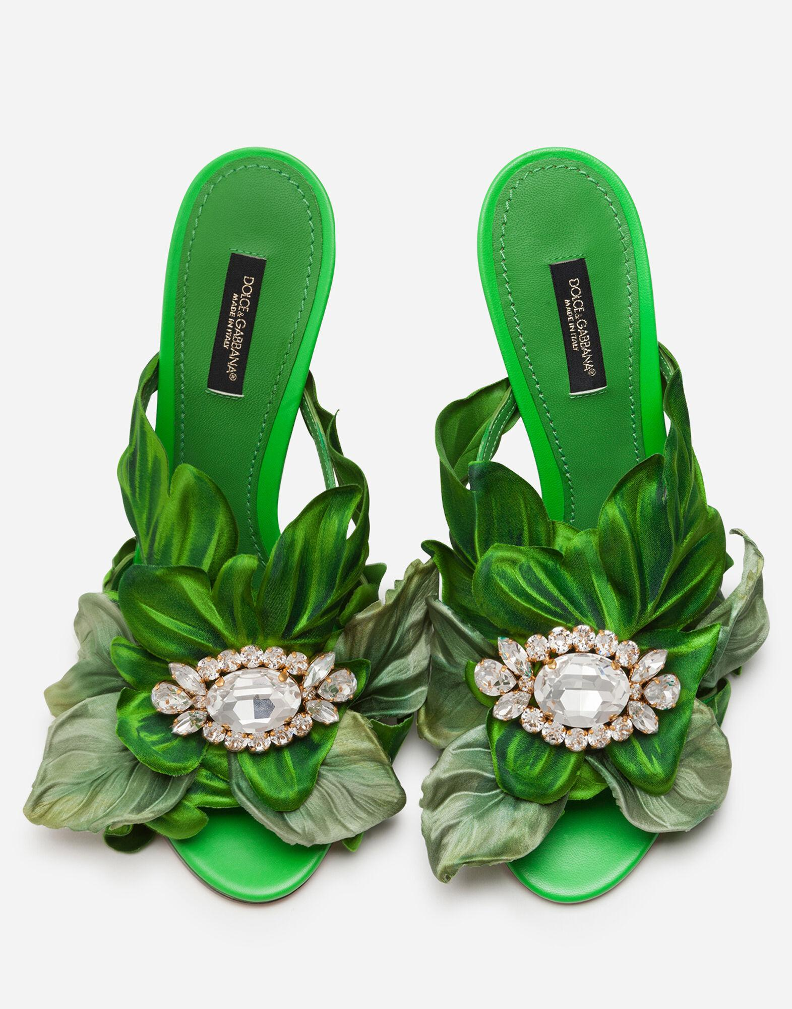 Satin mules with leaf appliqué and jewel embroidery 3