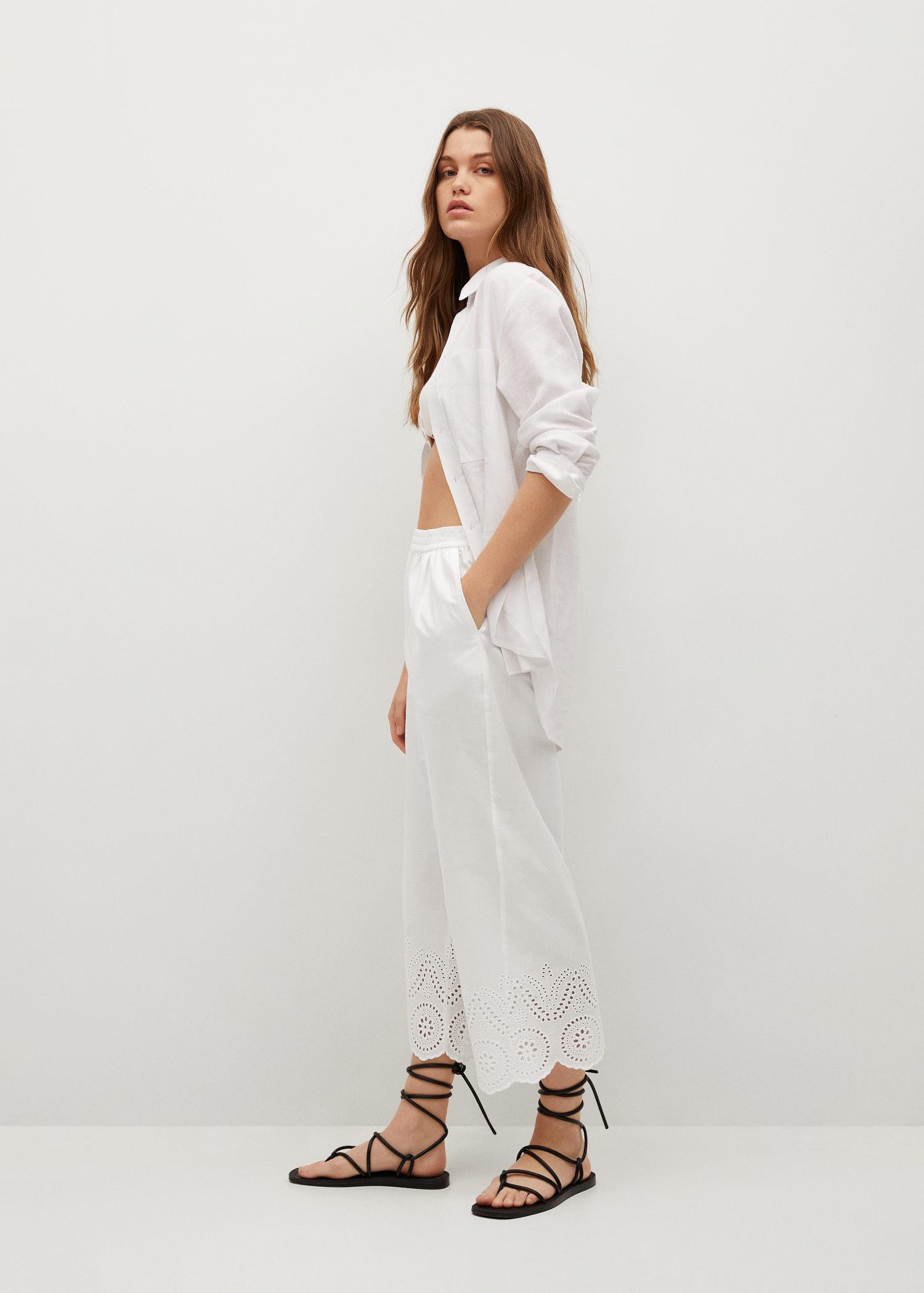Broderie anglaise cotton pants 4