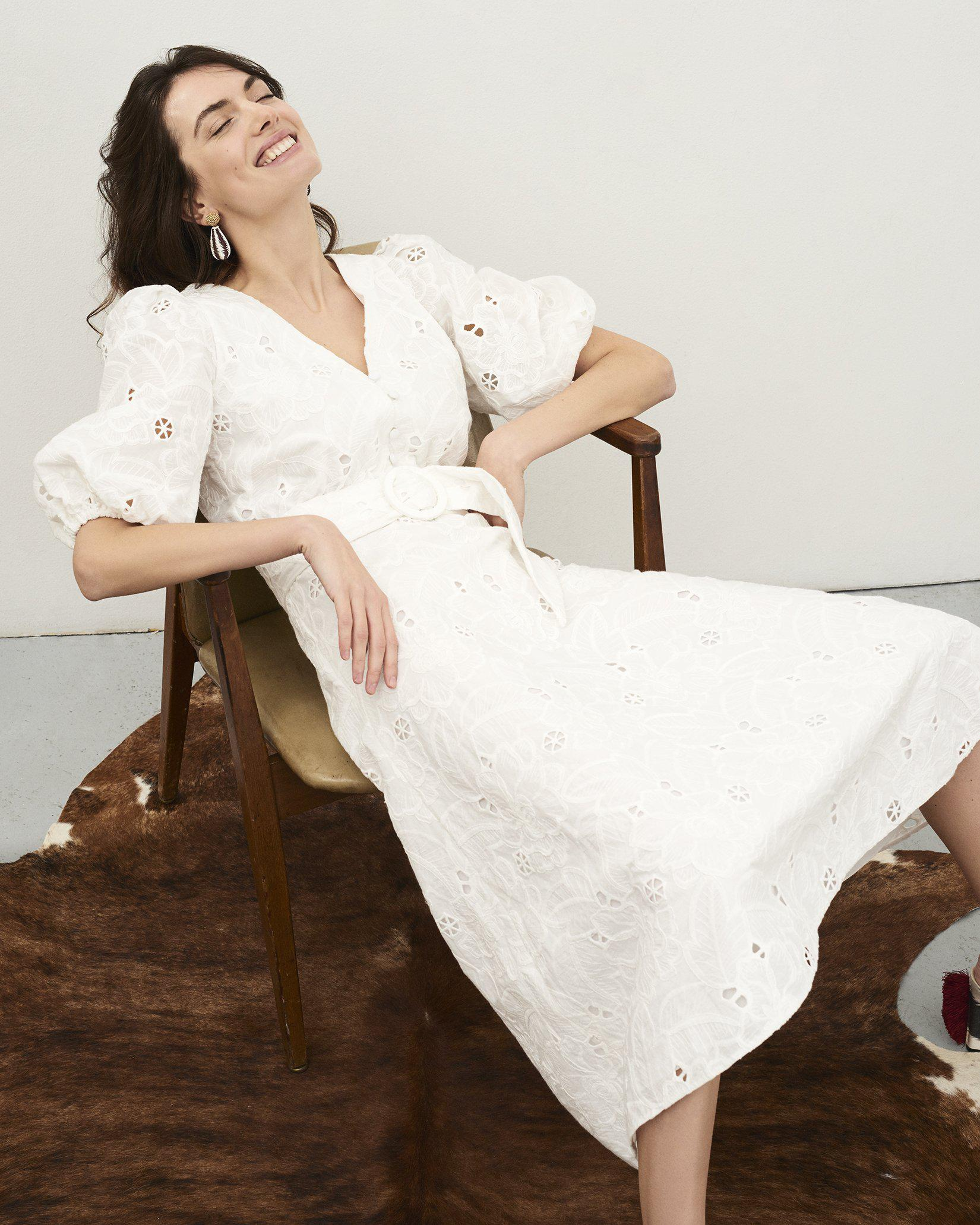 Kelsey Dress - Ivory Floral Embroidered Cotton