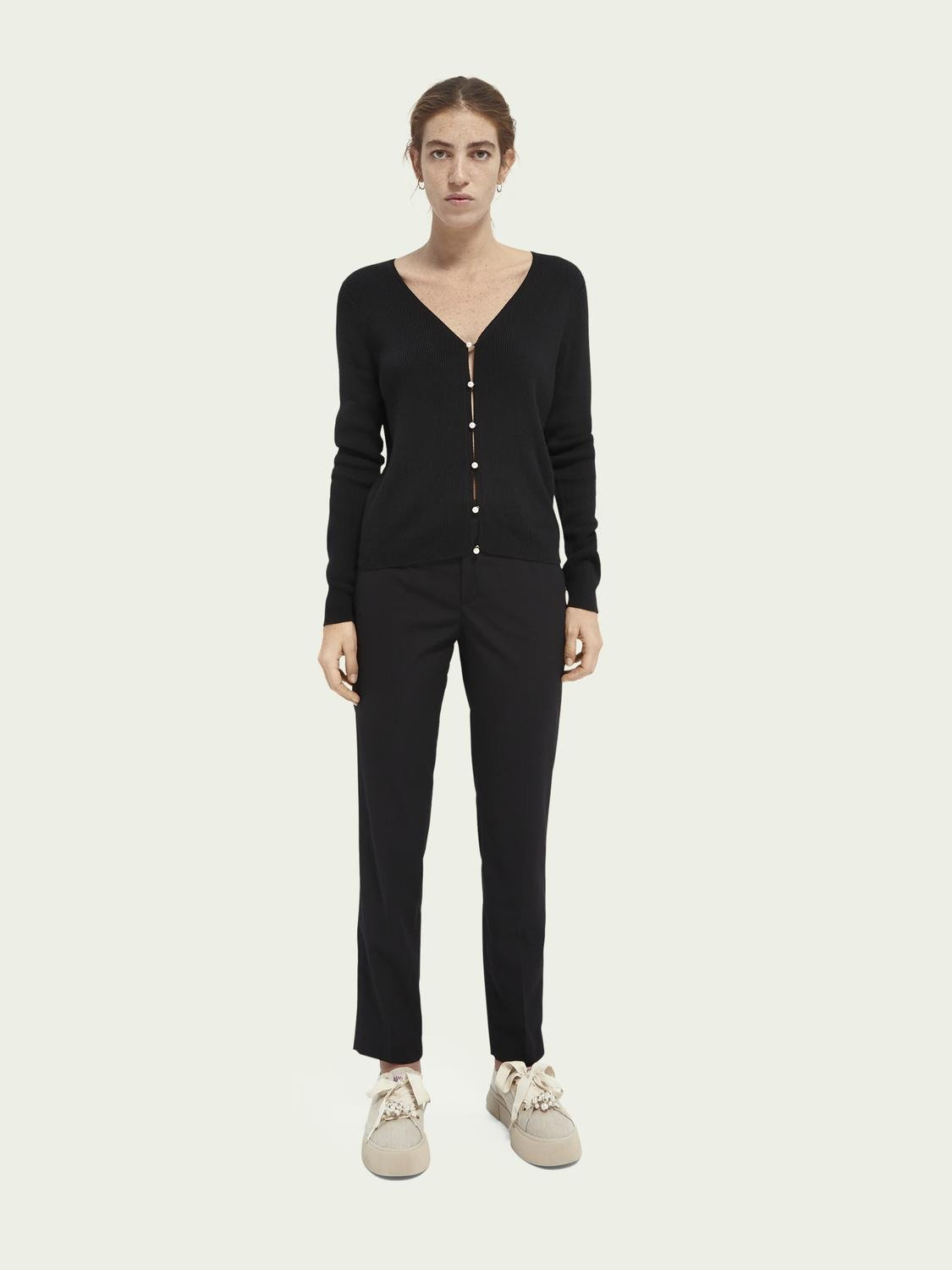 Faux pearl-buttoned cardigan 1