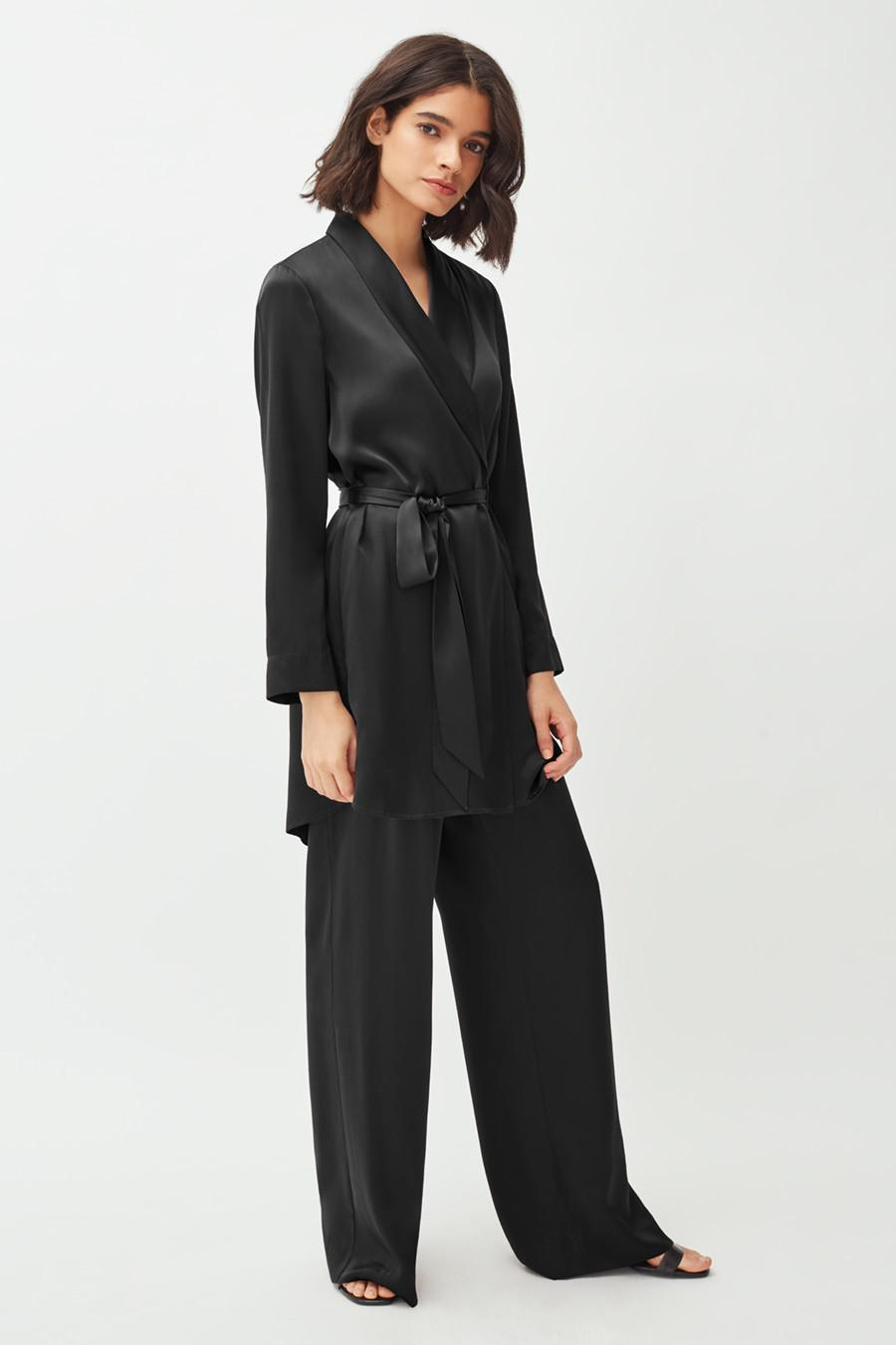 Women's Charmeuse Wide-Leg Pant in Black | Size: Large | Silk Charmeuse by Cuyana 3