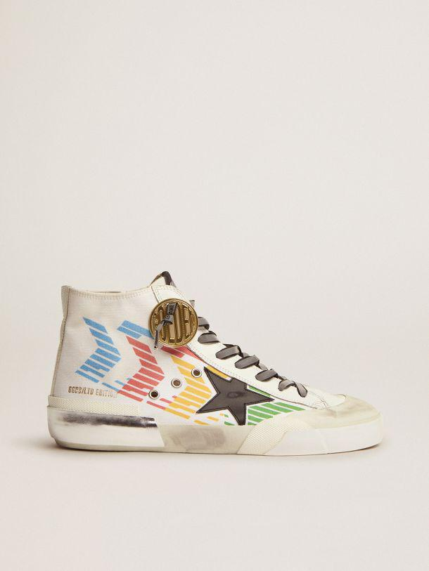 Francy Game EDT Capsule Collection sneakers with white canvas upper and multicolored screen print