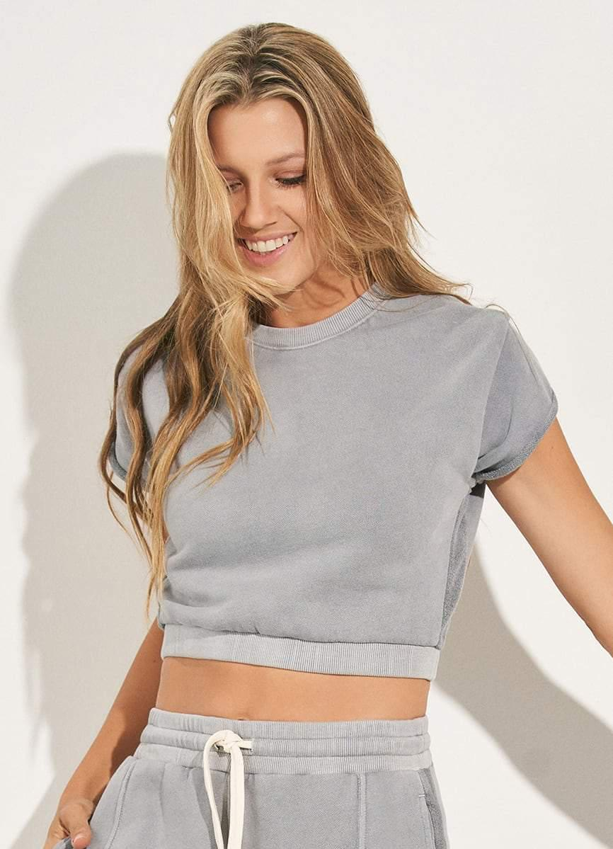 Blissful Marble Pebble Cap Sleeve Terry Top