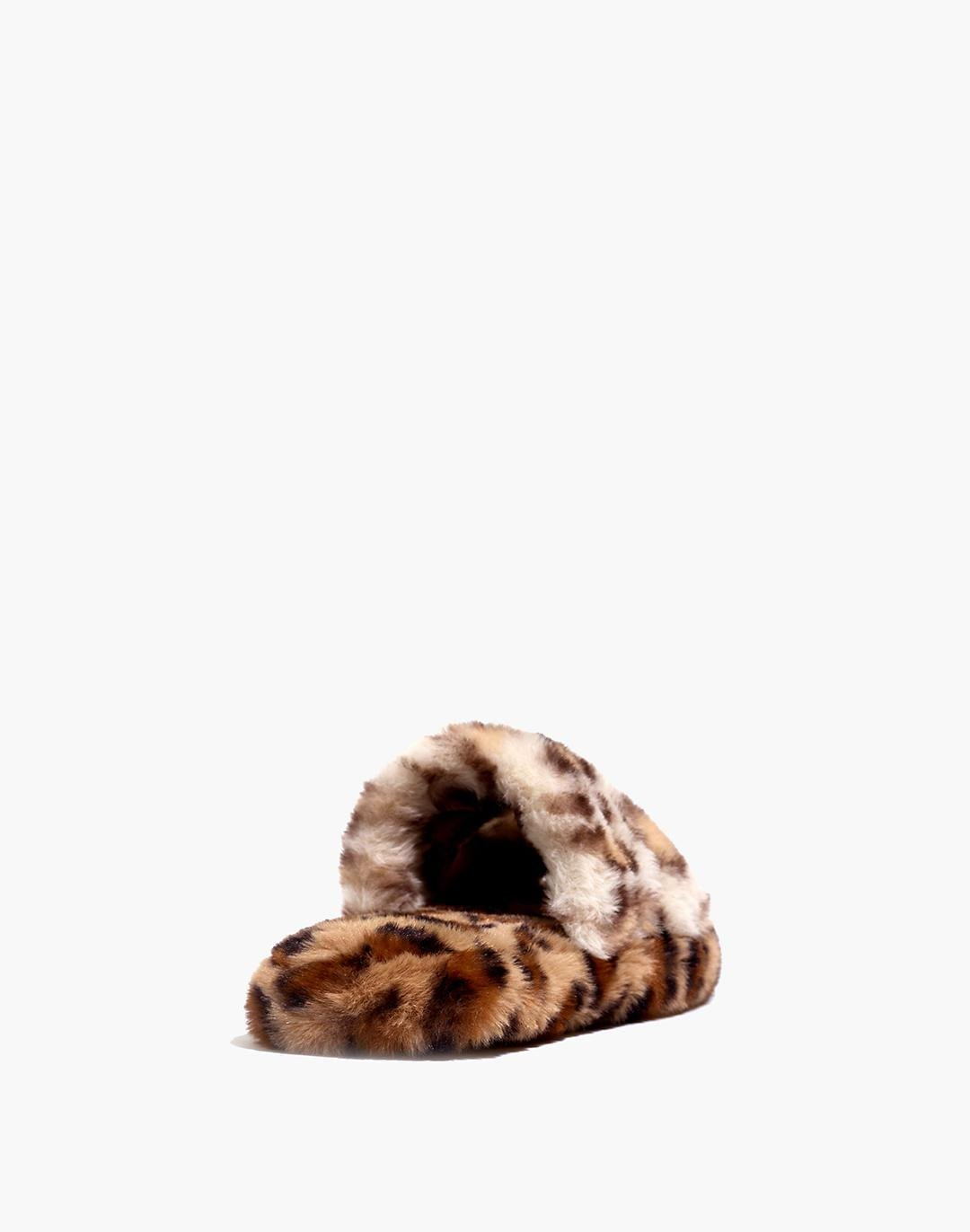 Two-Strap Scuff Slippers in Leopard Recycled Faux Fur 2