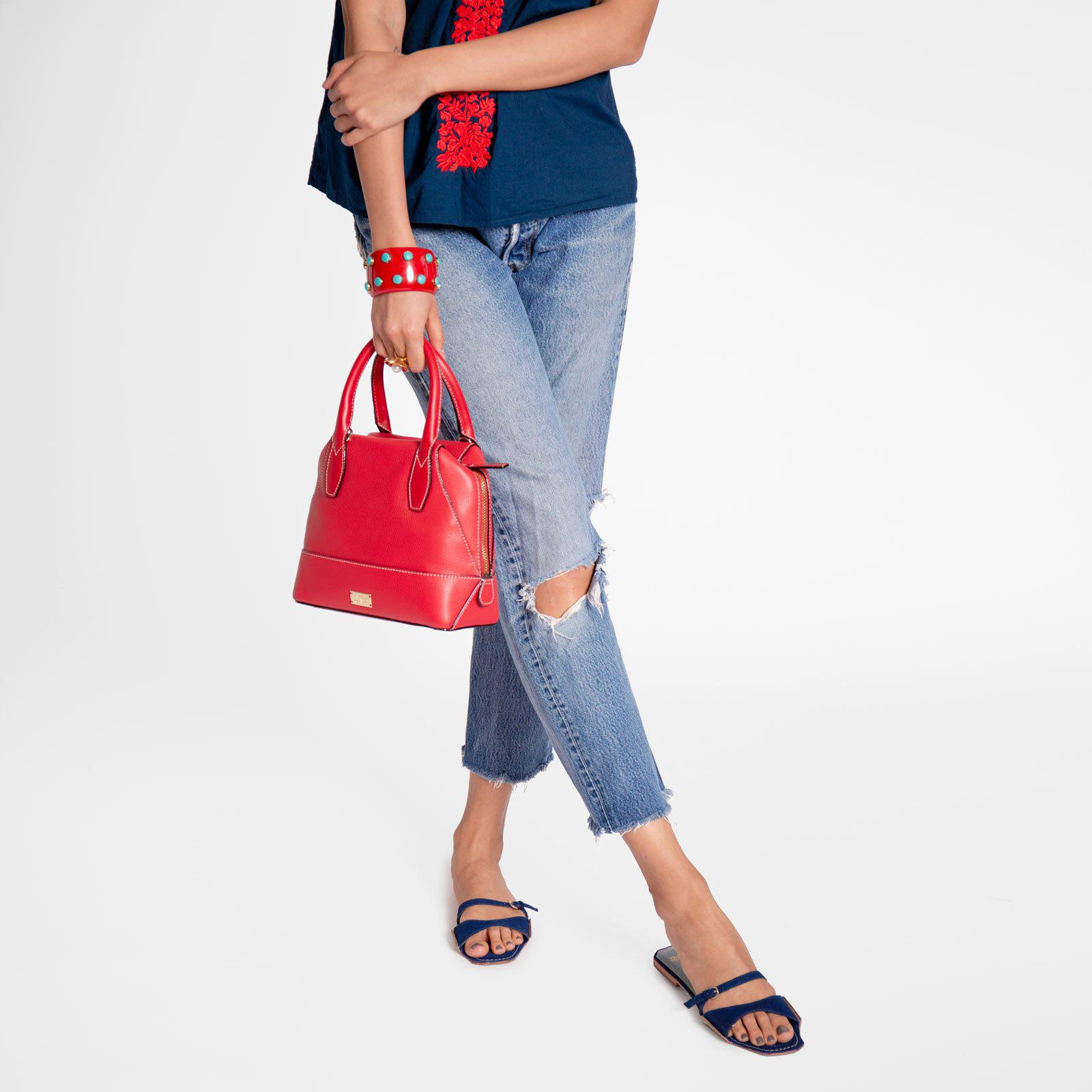 Small Abby Tote Tumbled Leather Red 7