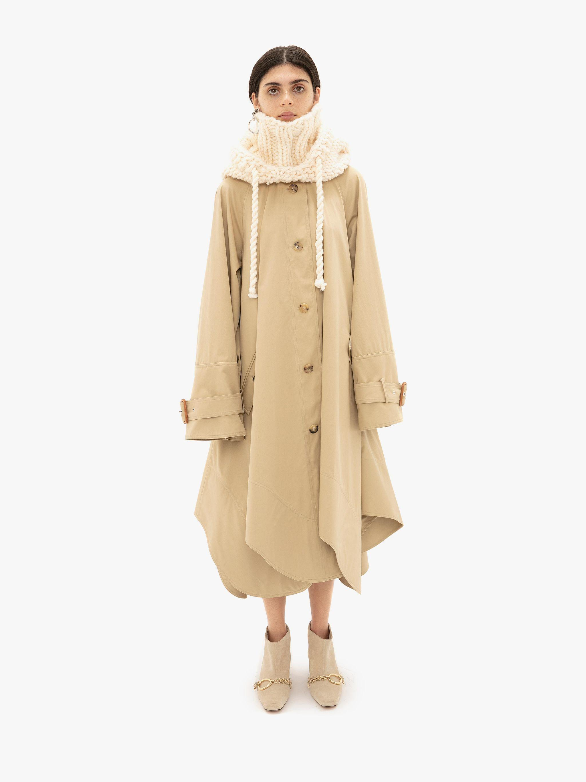 CURVED HEM A-LINE TRENCH COAT