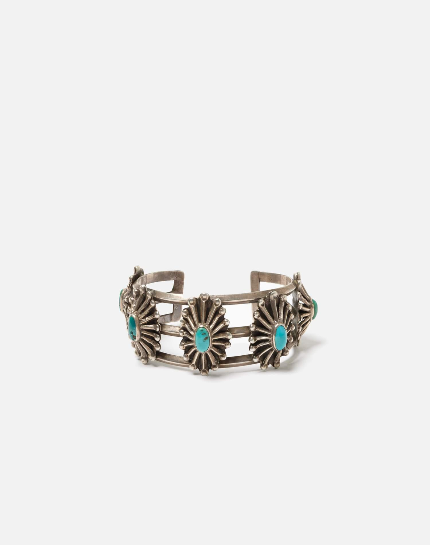 1940s Sterling And Turquoise Five Tufa Cast Concho Bracelet - #91