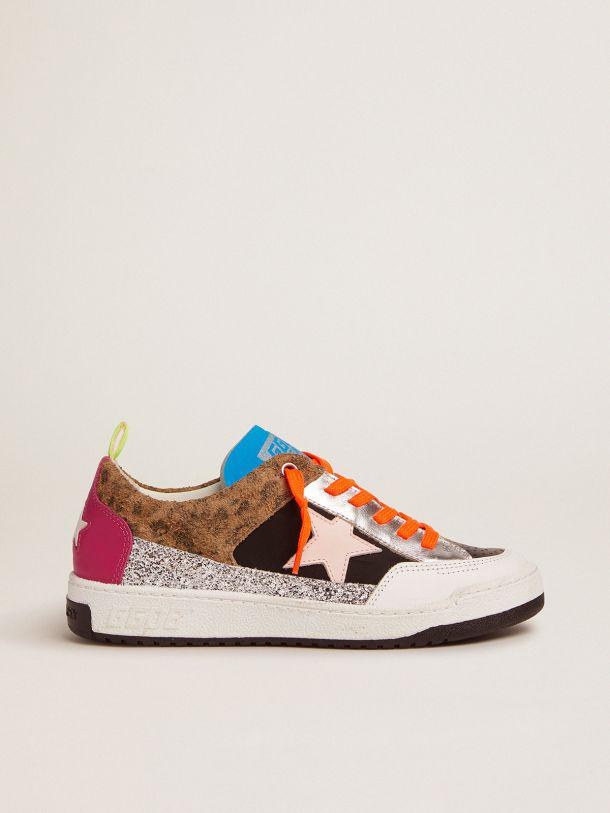Yeah sneakers with silver glitter, animal-print and colored leather patchwork