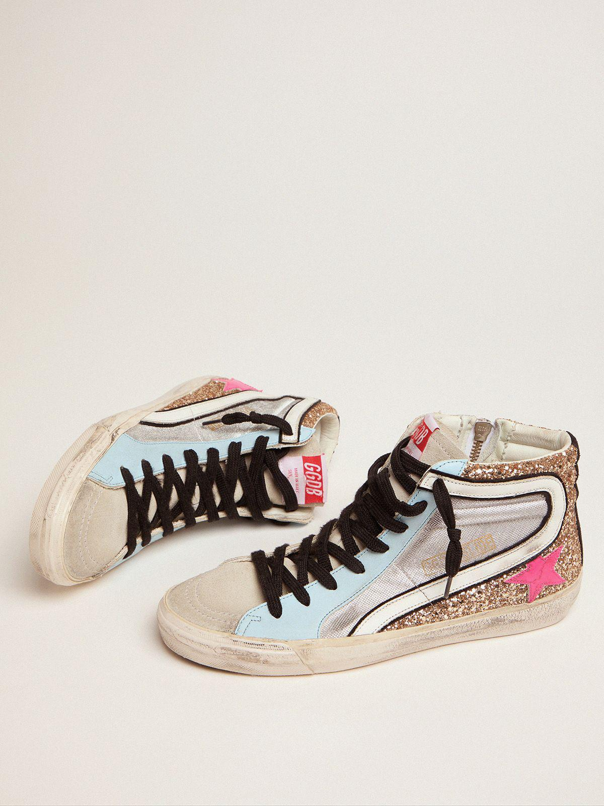 Slide LTD sneakers with glitter and fuchsia star 1