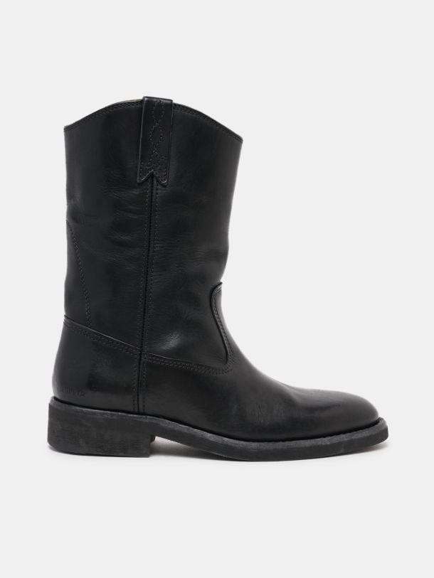 Black Biker boots in leather with shearling interior