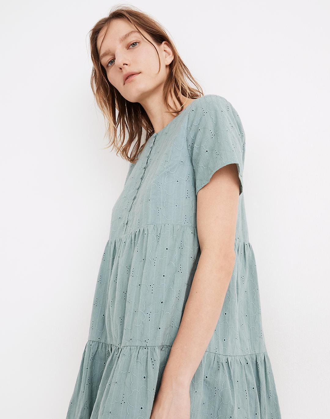 Petite Embroidered Eyelet Button-Front Tiered Mini Dress 1