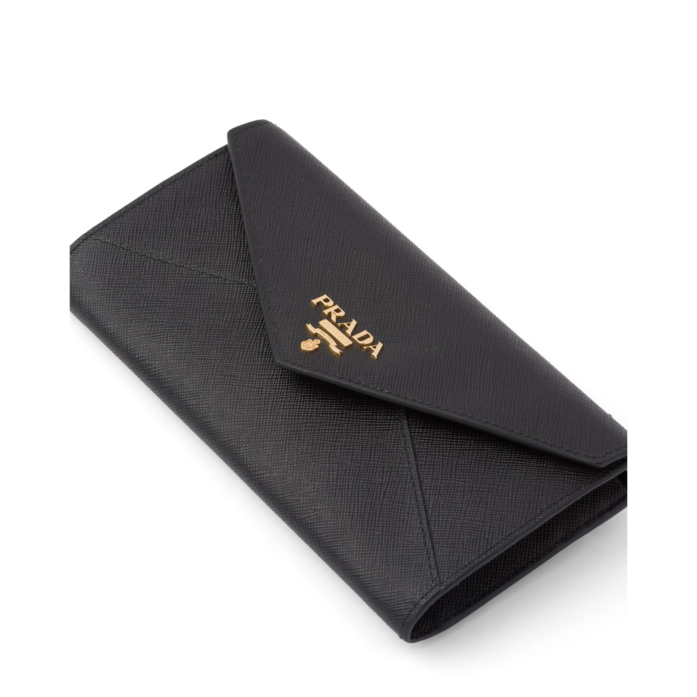 Saffiano Leather Wallet With Shoulder Strap Women Black 1