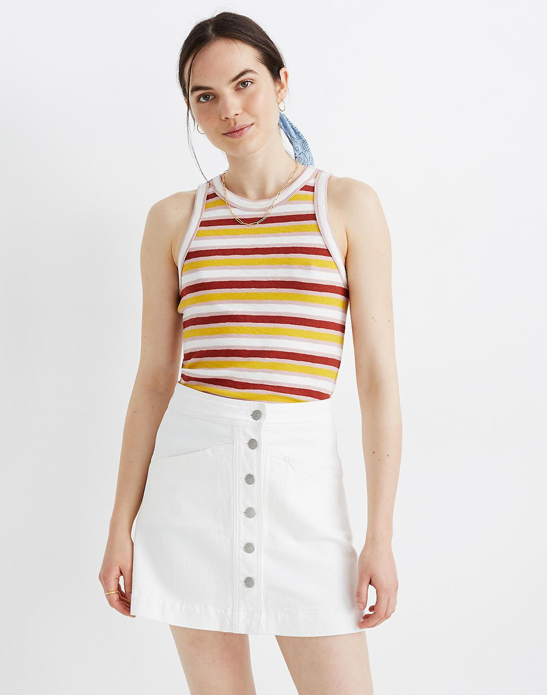Stretch Denim A-Line Mini Skirt in Tile White: Button-Front Edition