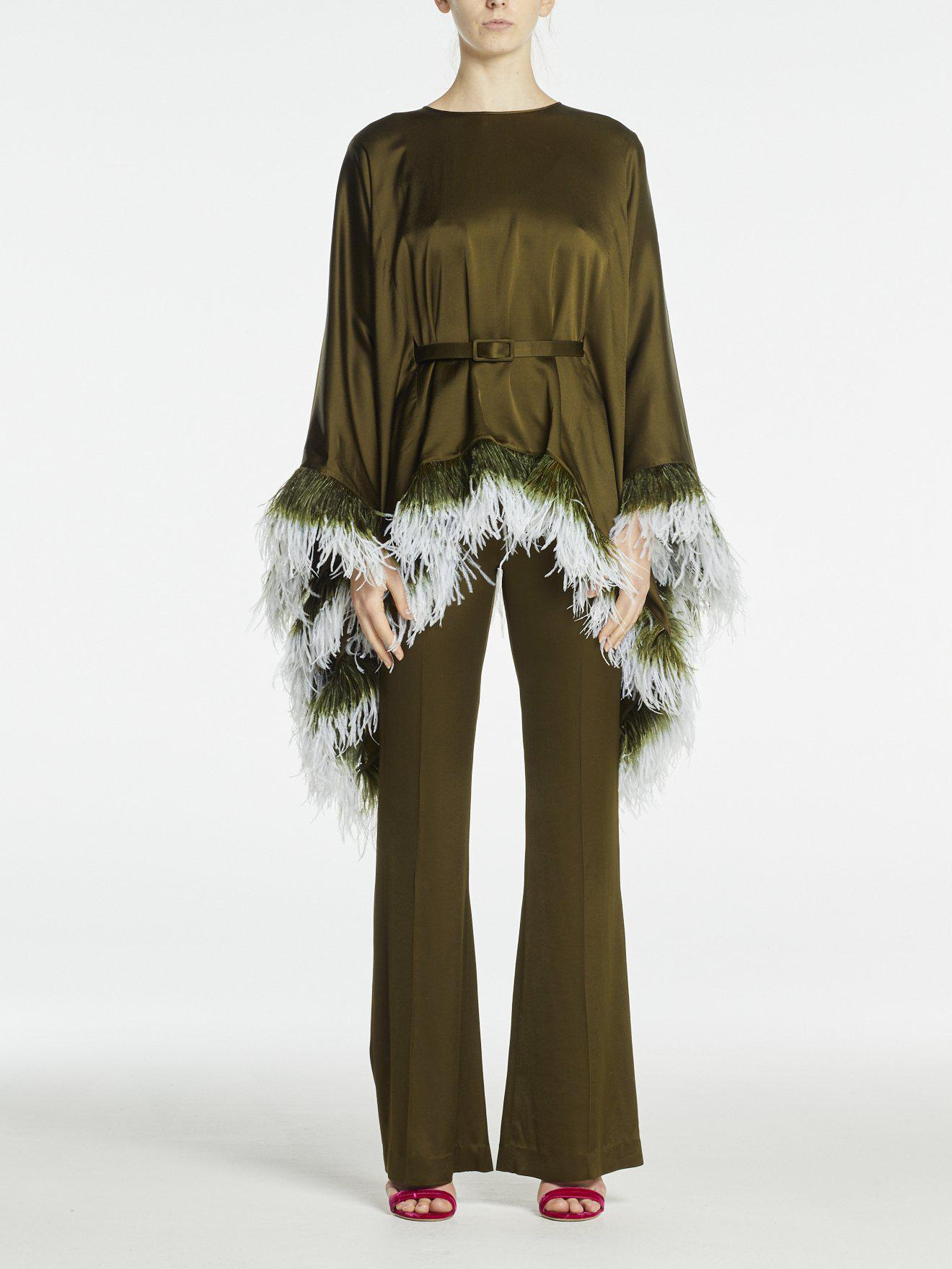 IMAN TROUSERS OLIVE GREEN SATIN