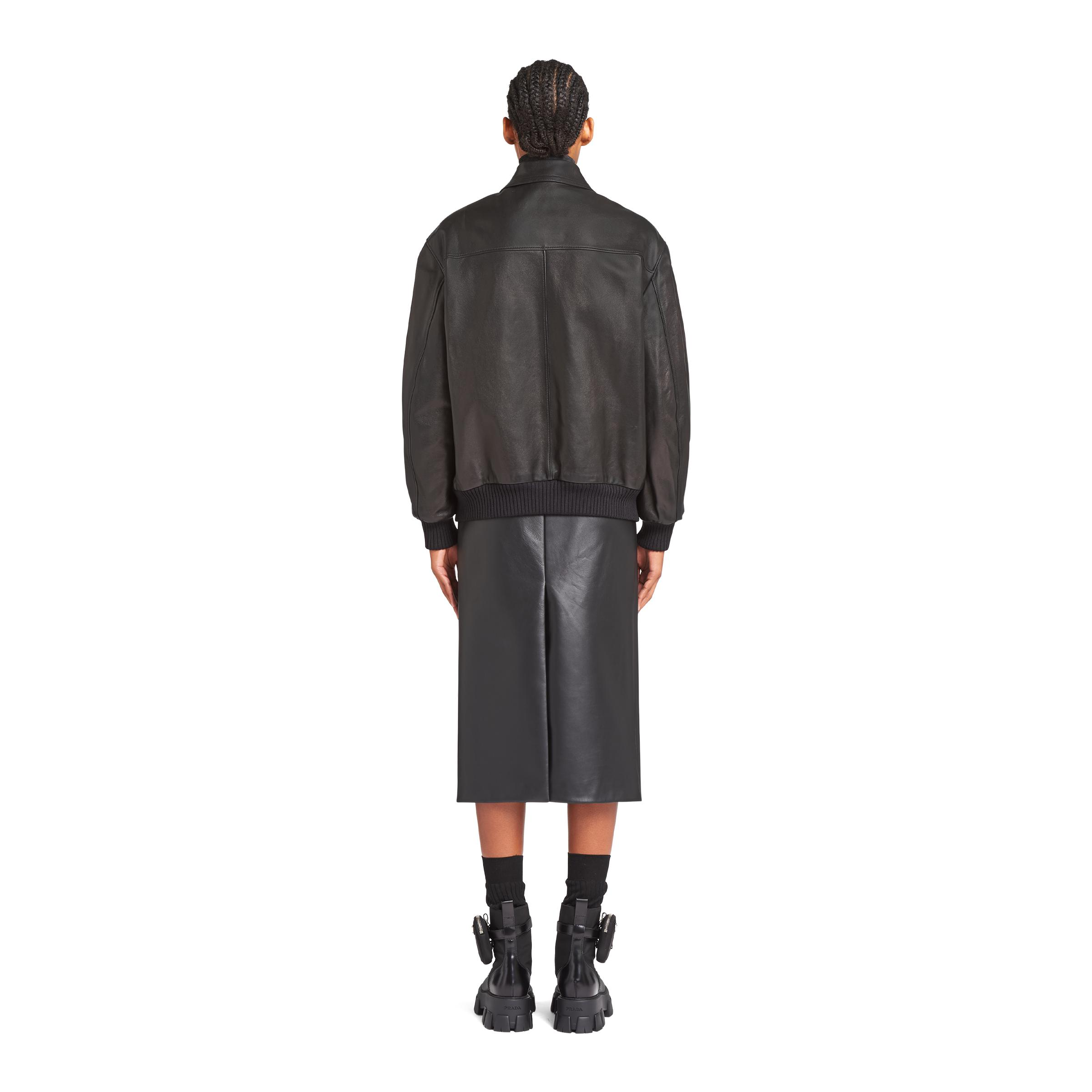 Nappa Leather And Shearling Bomber Jacket Women Black 3