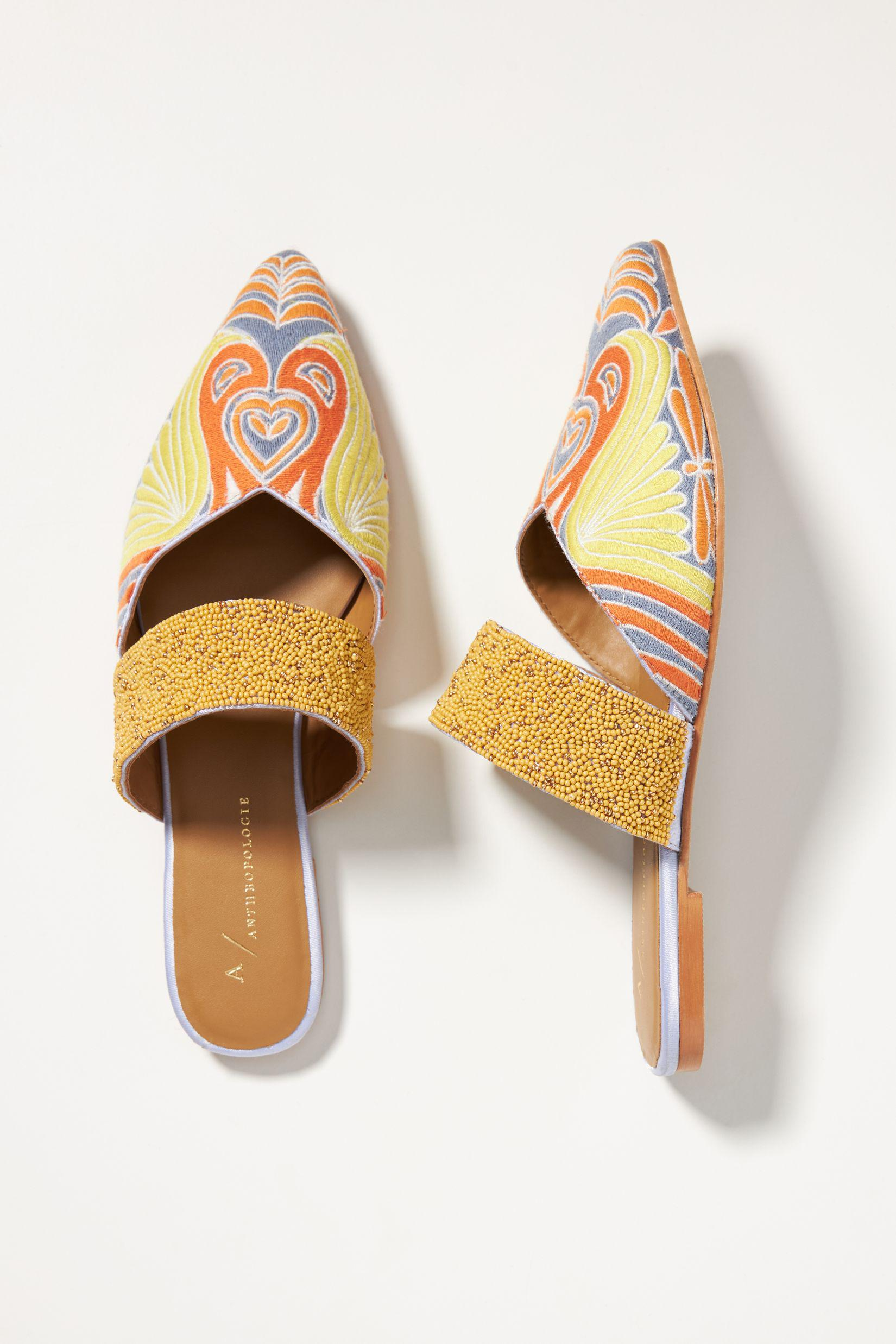 Butterfly Embroidered Mules