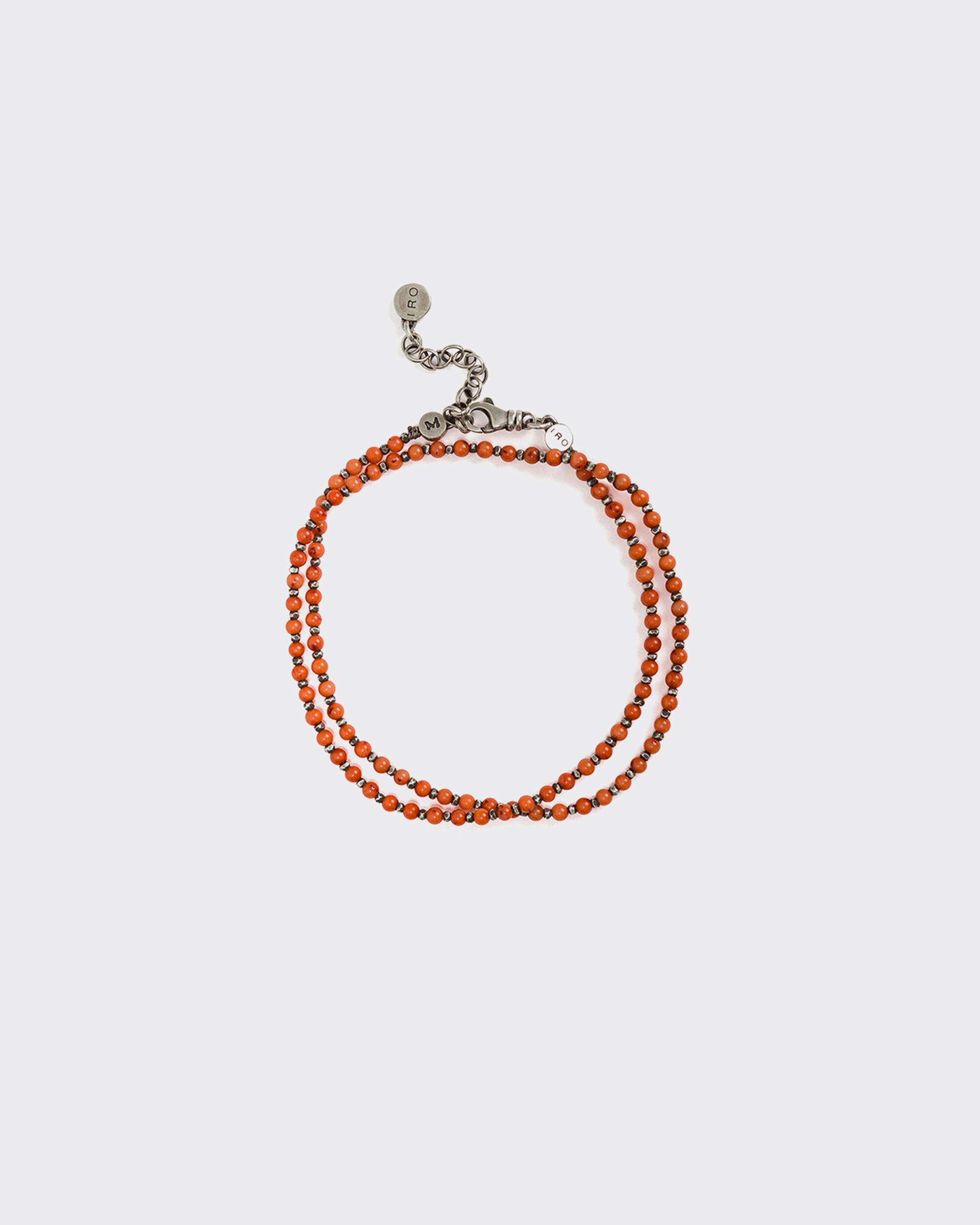 ZOISITE SILVER AND RED CORAL BEAD BRACELET