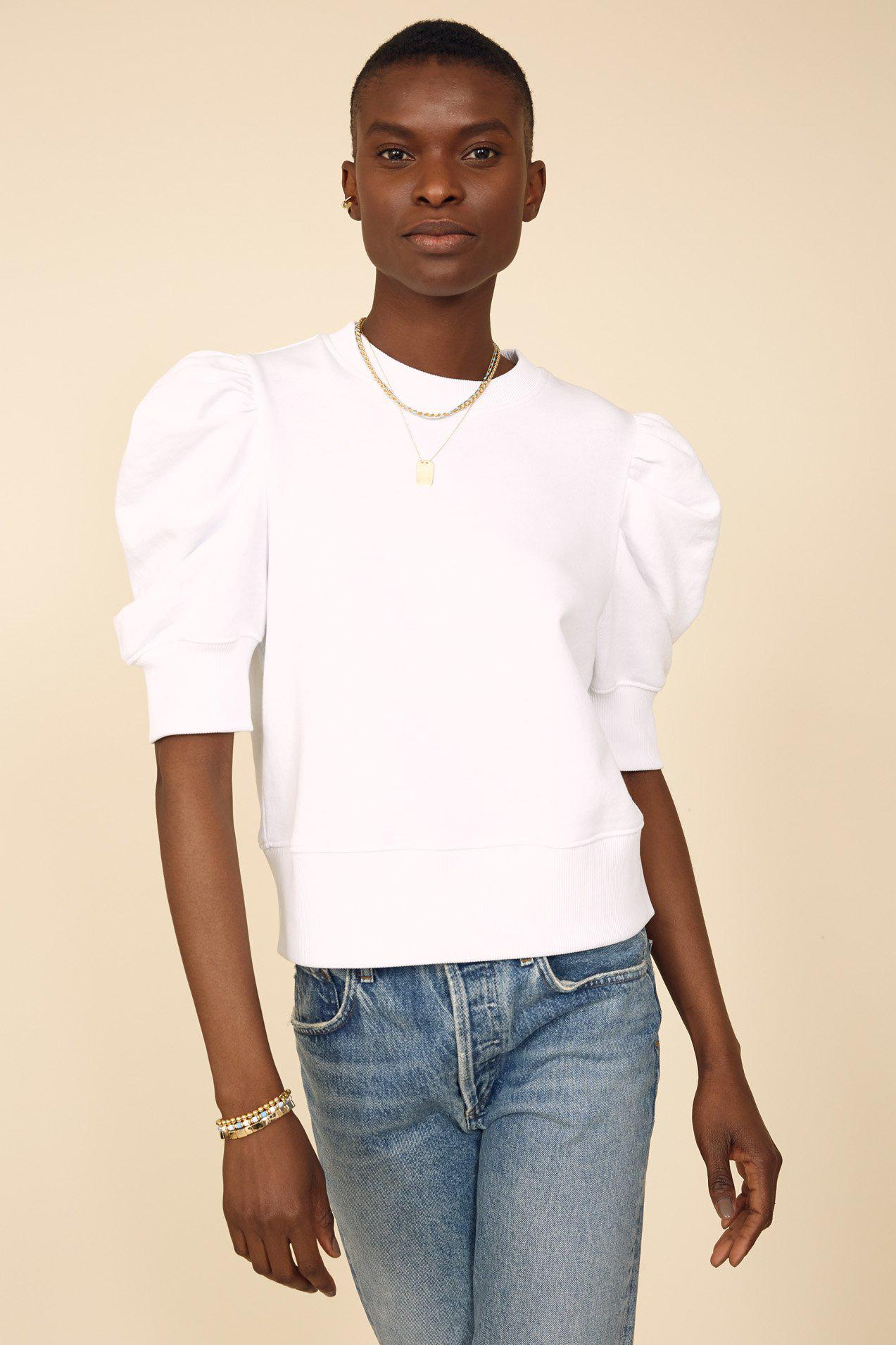 The Just Enough Puff Short Sleeve Sweatshirt in White