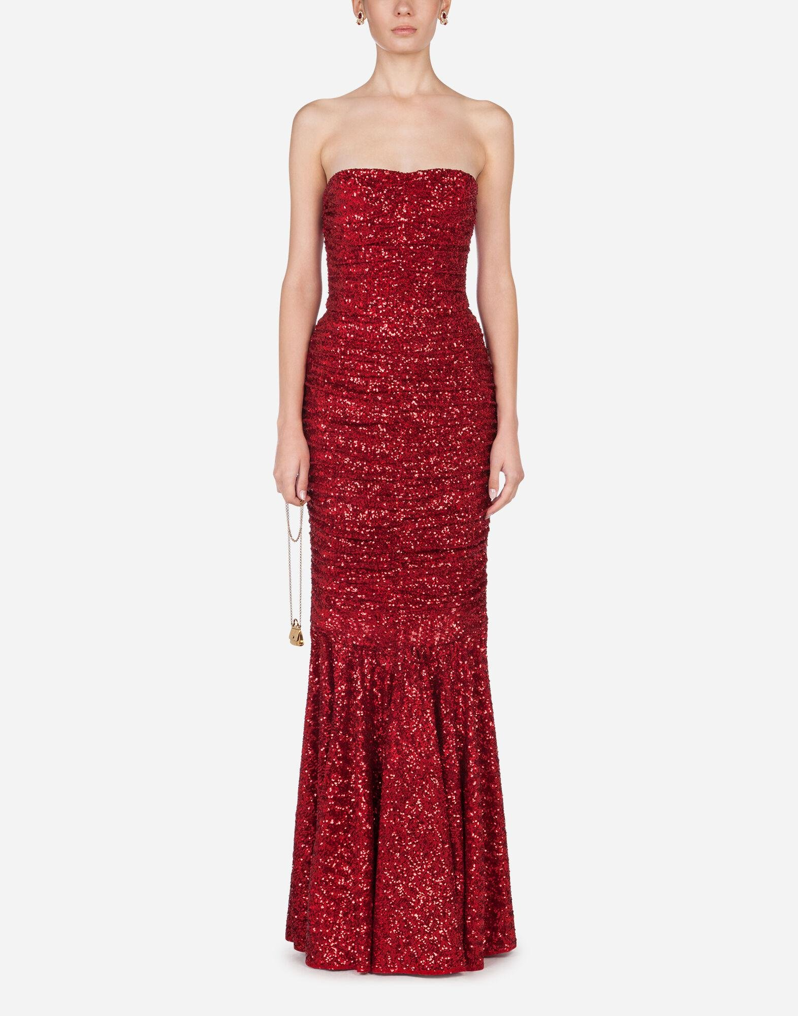 Long dress draped in sequins 5