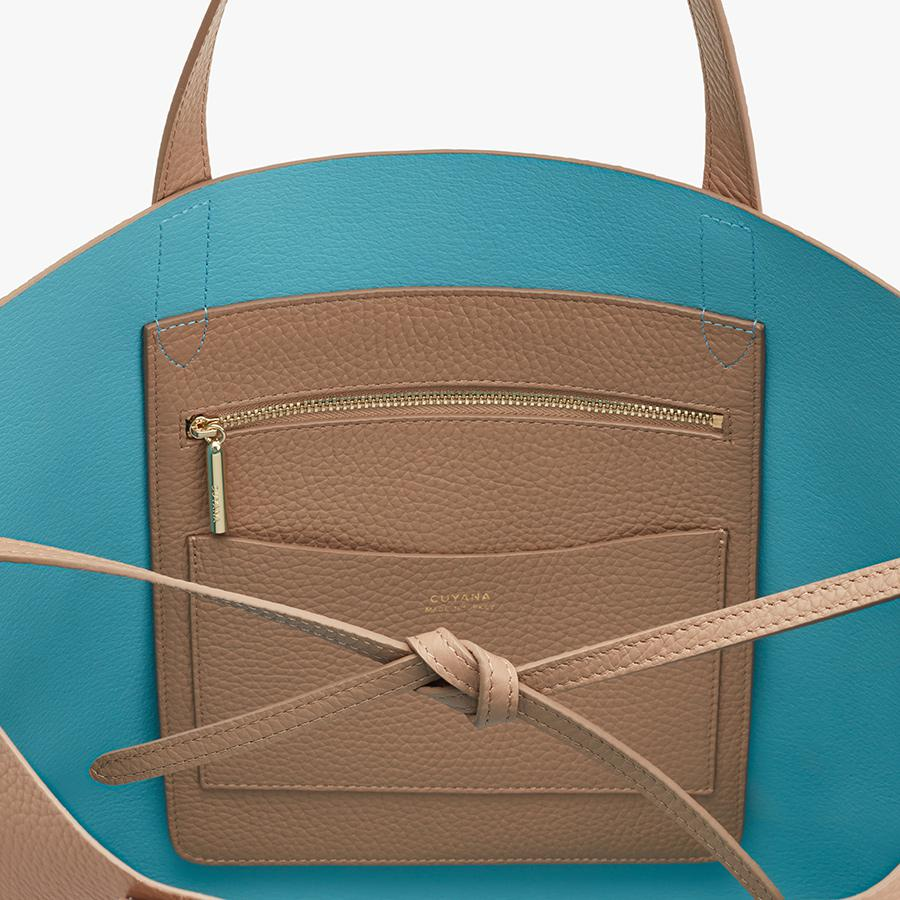 Women's Classic Structured Leather Tote Bag in Cappuccino/Blue | Pebbled Leather by Cuyana 2
