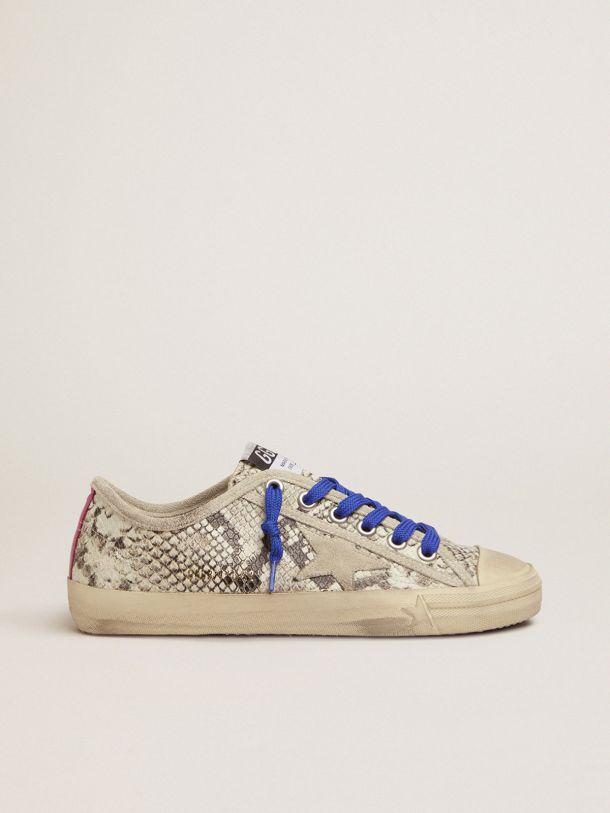 V-Star sneakers in snake-print leather with fuchsia insert