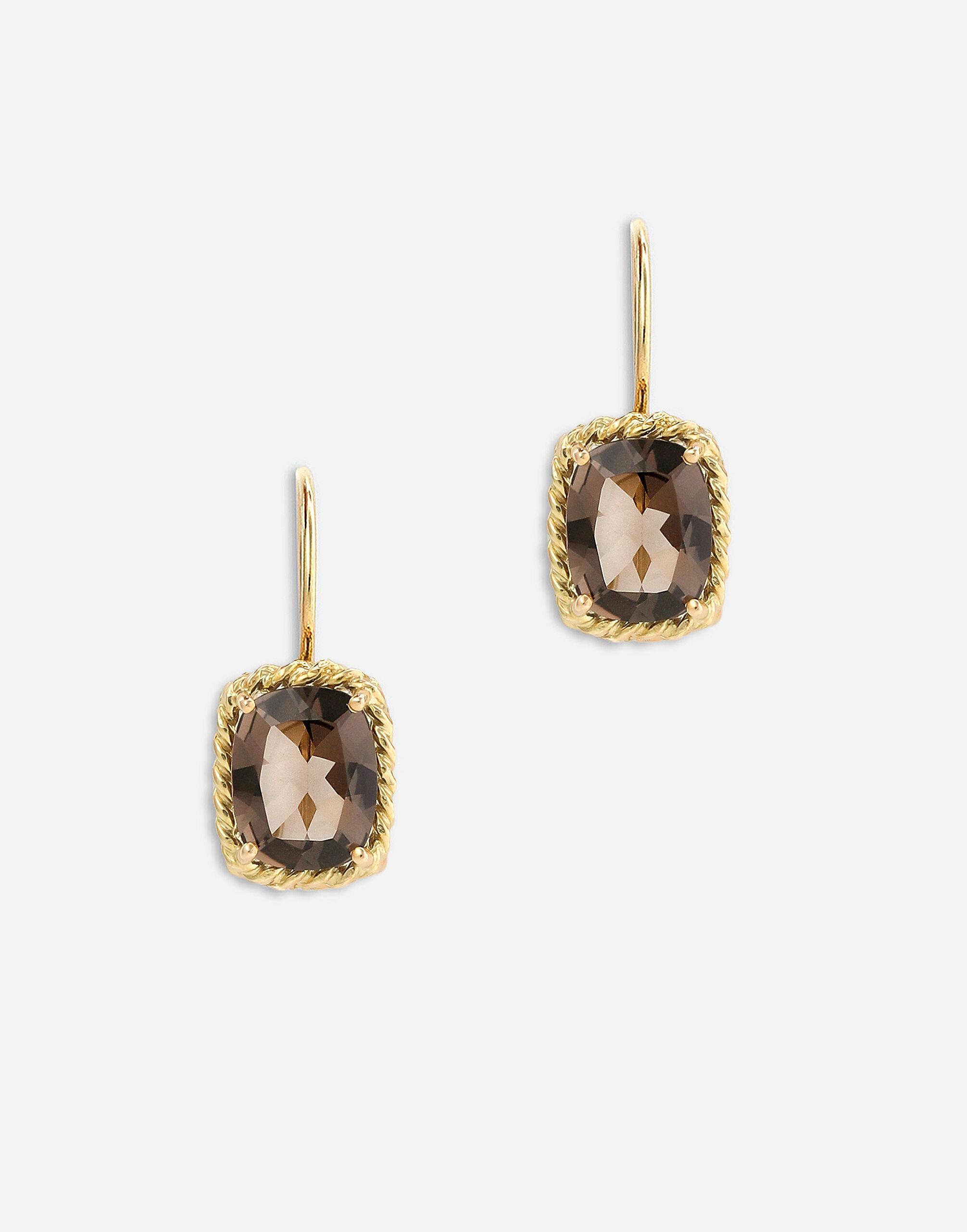 Anna earrings in yellow 18kt gold with smoky quartzes
