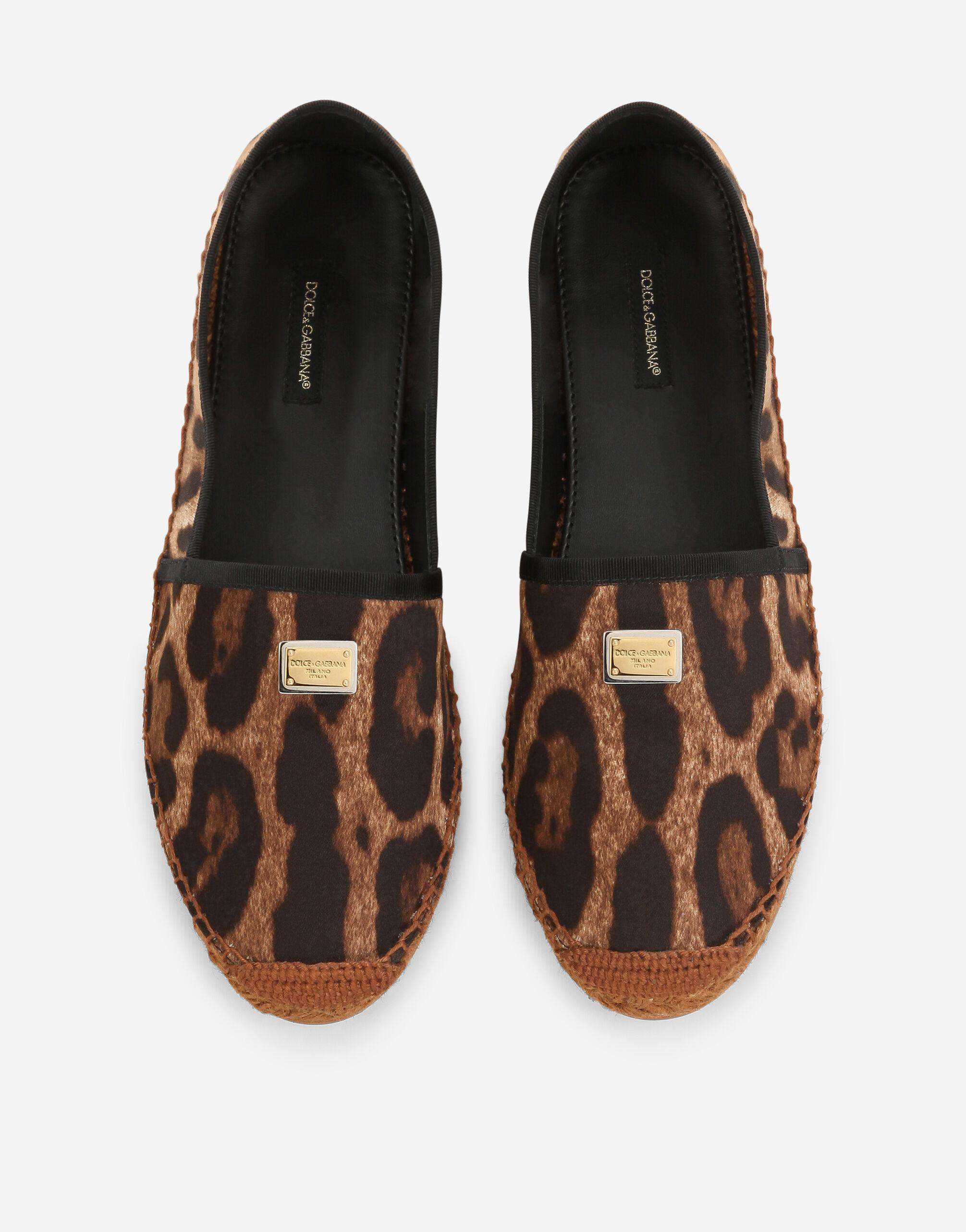 Leopard-print cotton espadrilles with branded plate 3