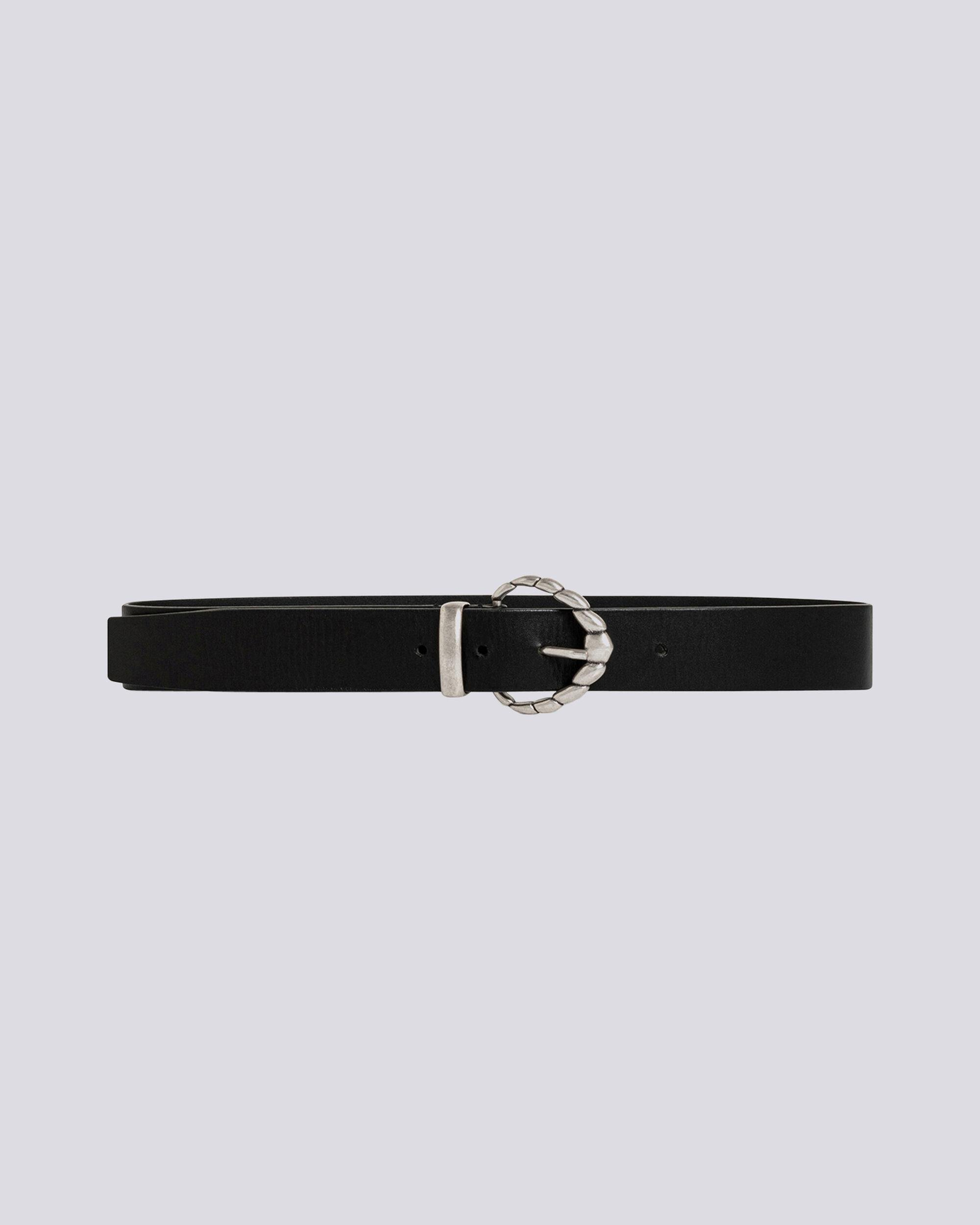 SOLVEN THIN LEATHER SILVER BUCKLE BELT
