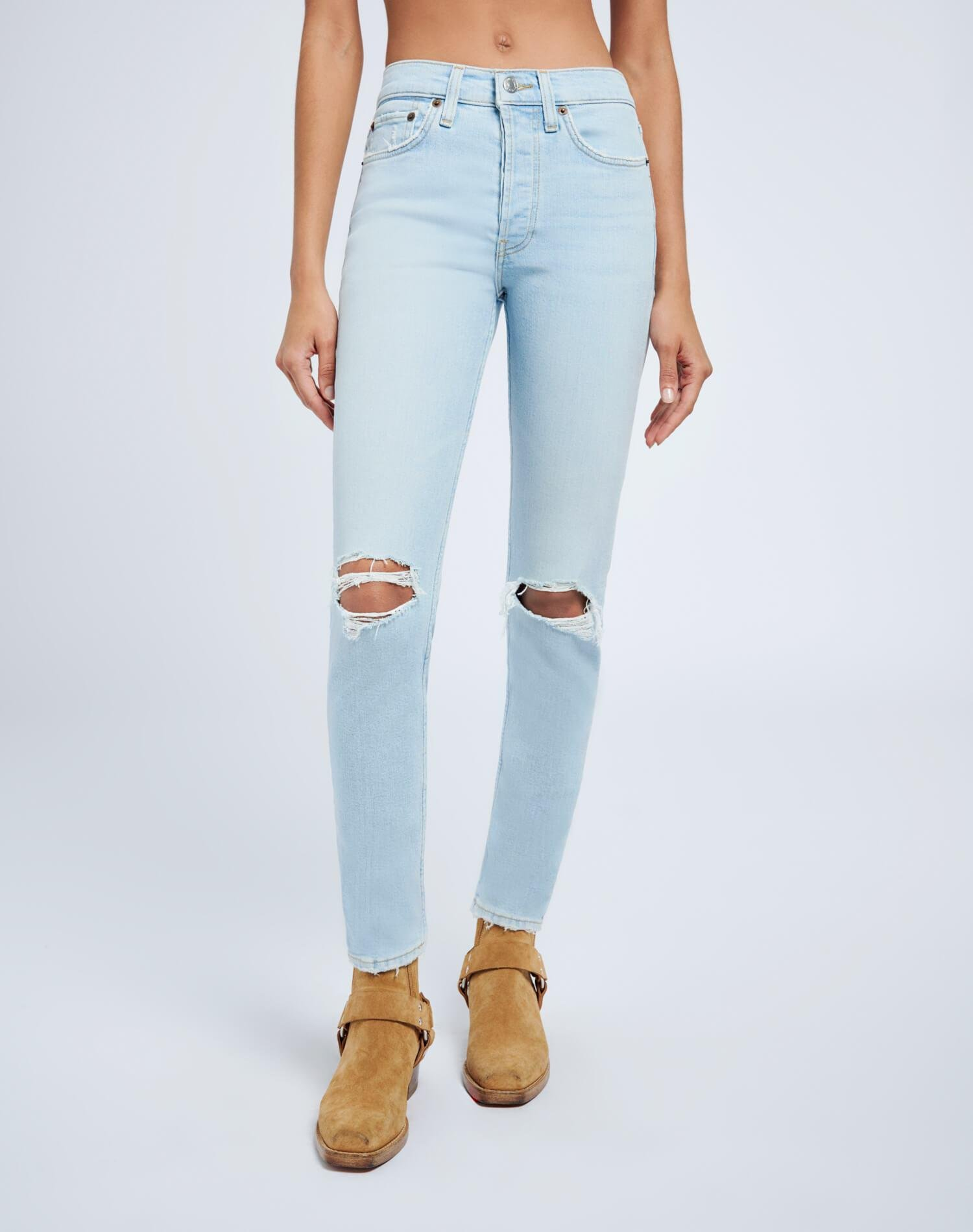 Ultra Stretch High Rise Ankle Crop - Destroyed Icy Blue