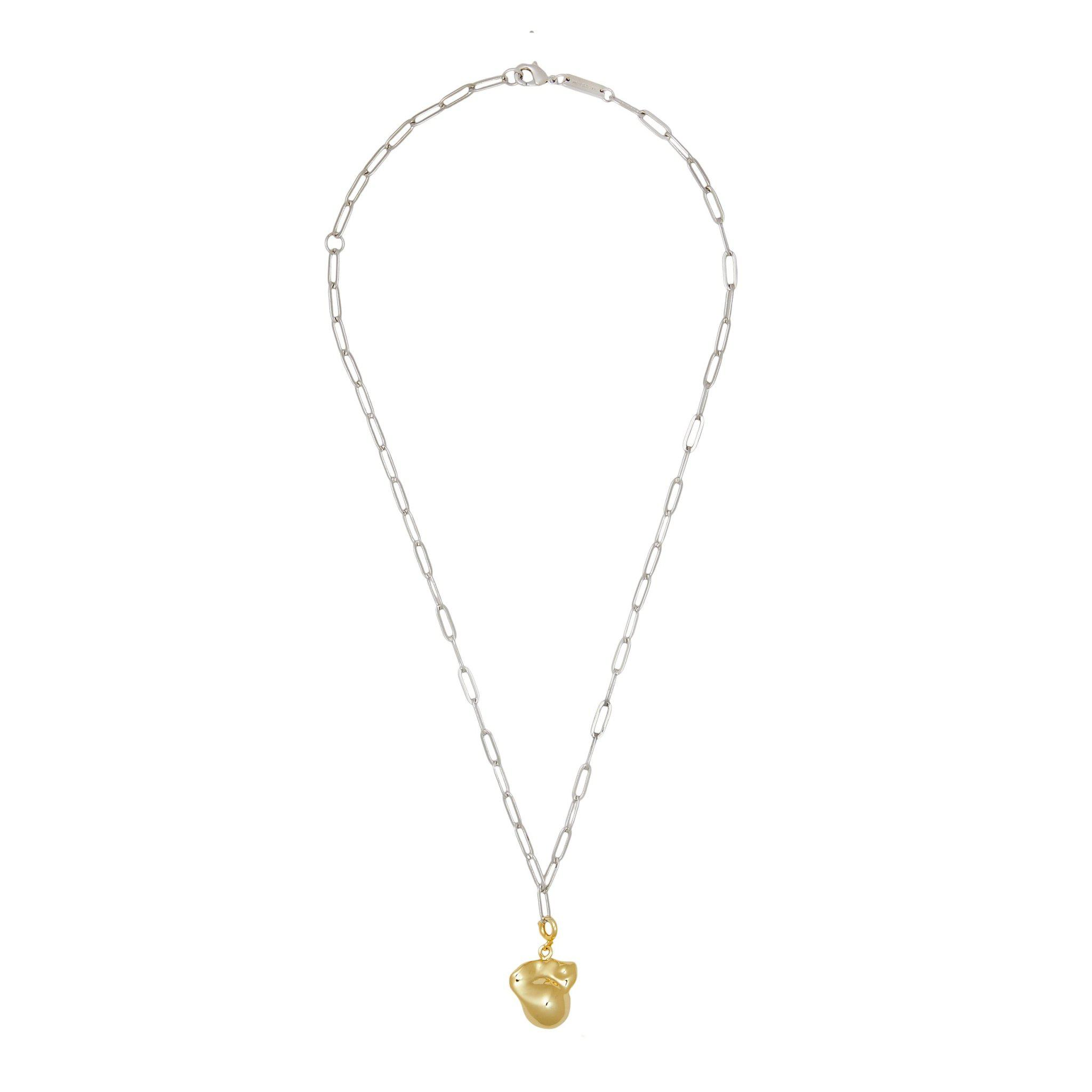 Pearl & Petite Paperclip Chain Pendant Necklace in Silver & Gold