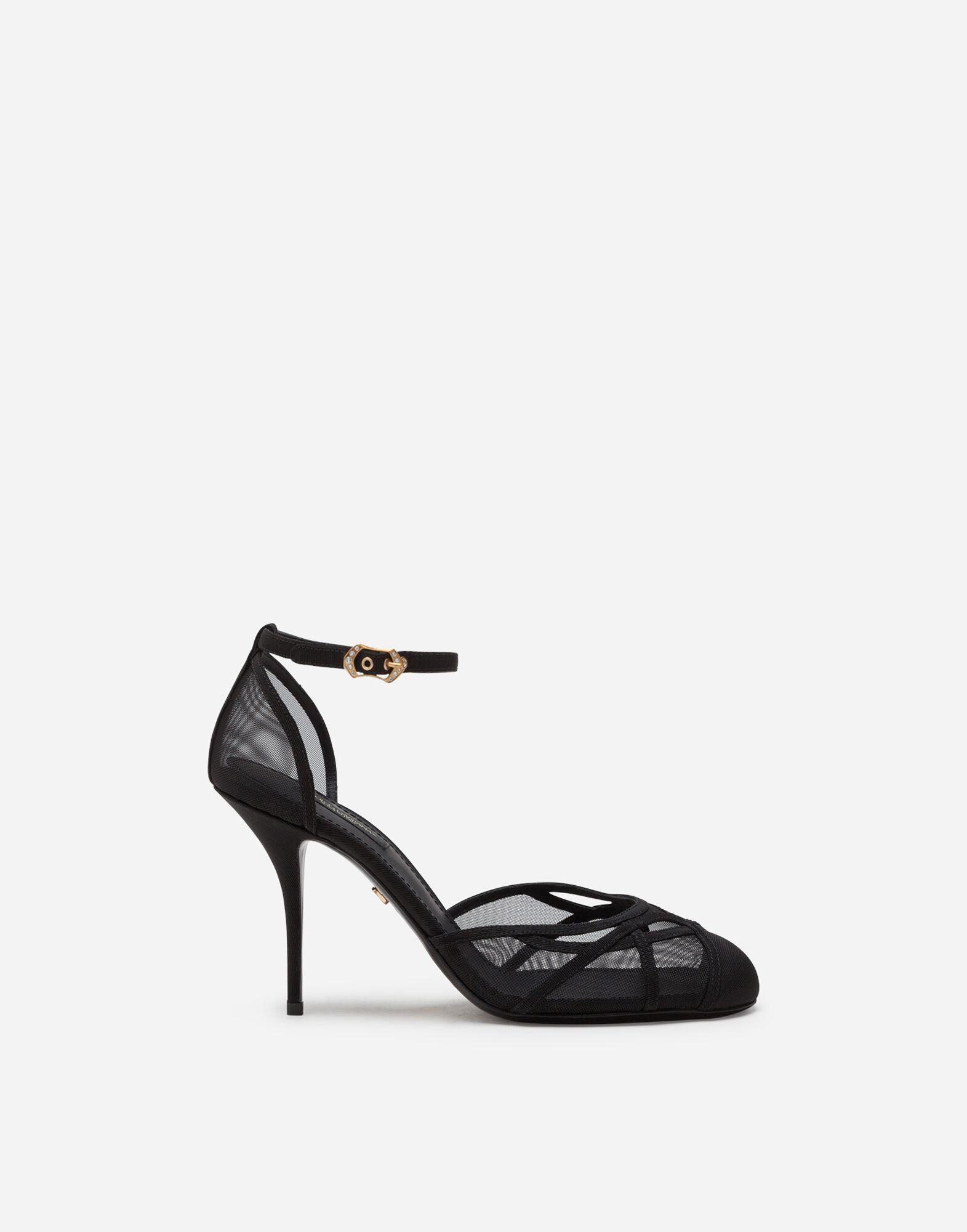 Ankle strap sandals in mesh and grosgrain