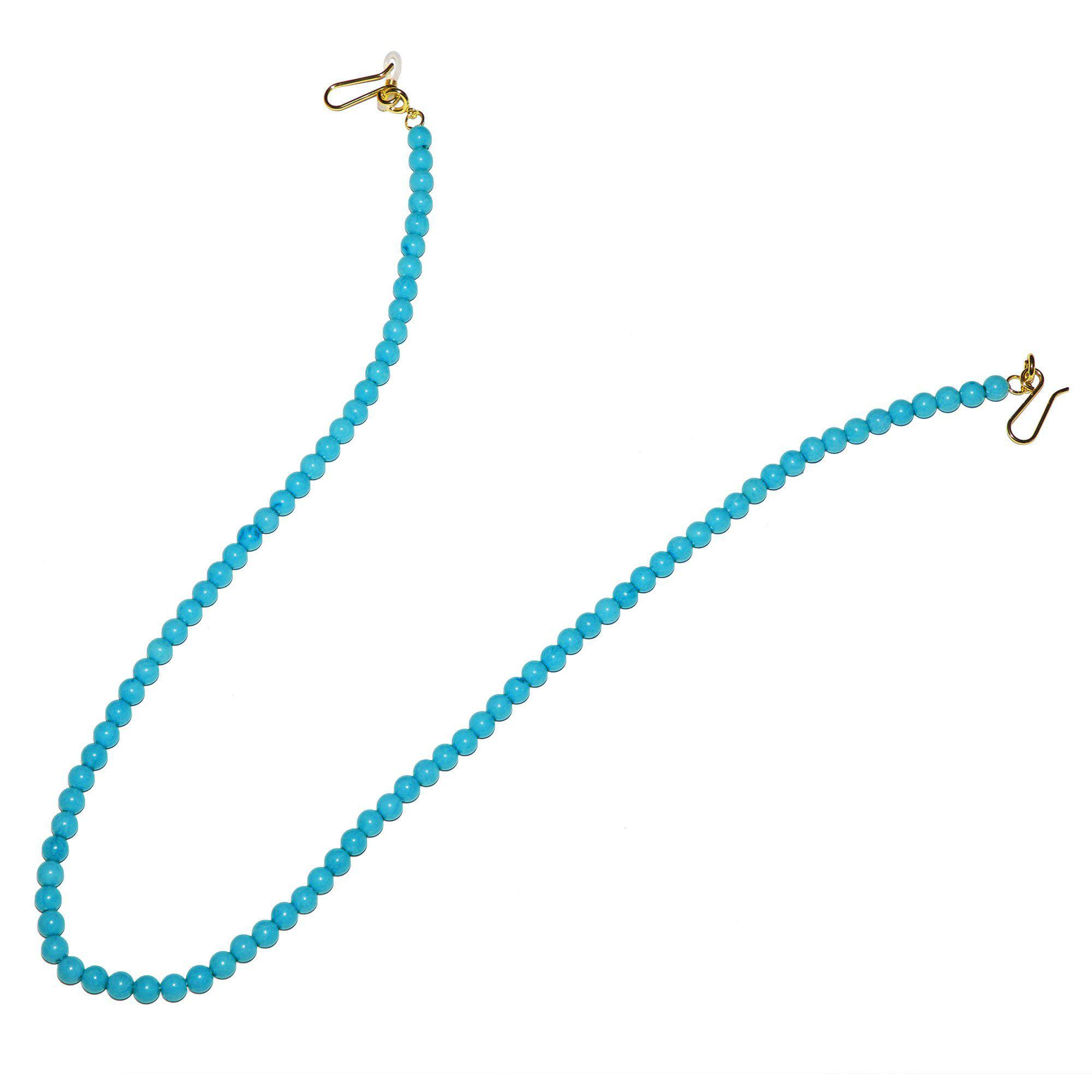 TURQUOISE BEADED SUNGLASS AND FACE MASK CHAIN