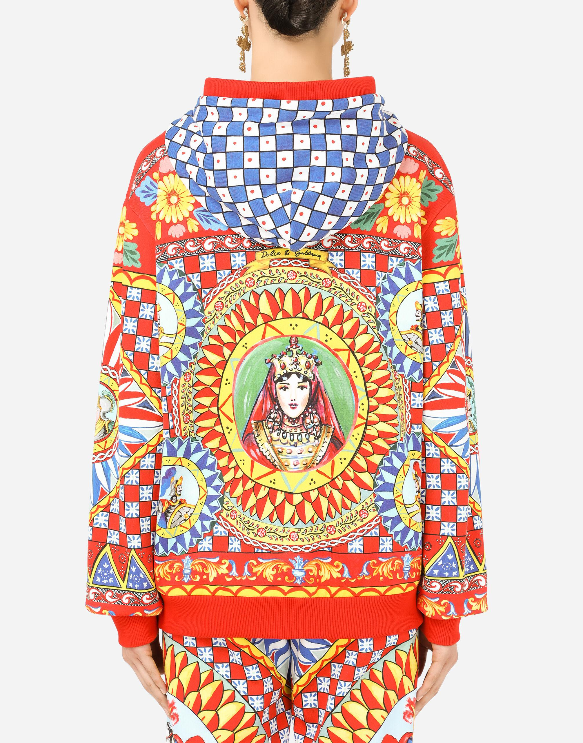 Jersey hoodie with Carretto print 1