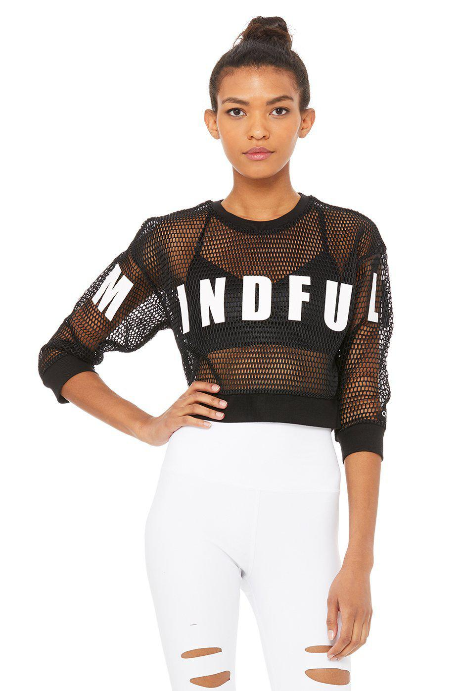 Structured Graphic Mesh Pullover - Black/Mindful Movement/White