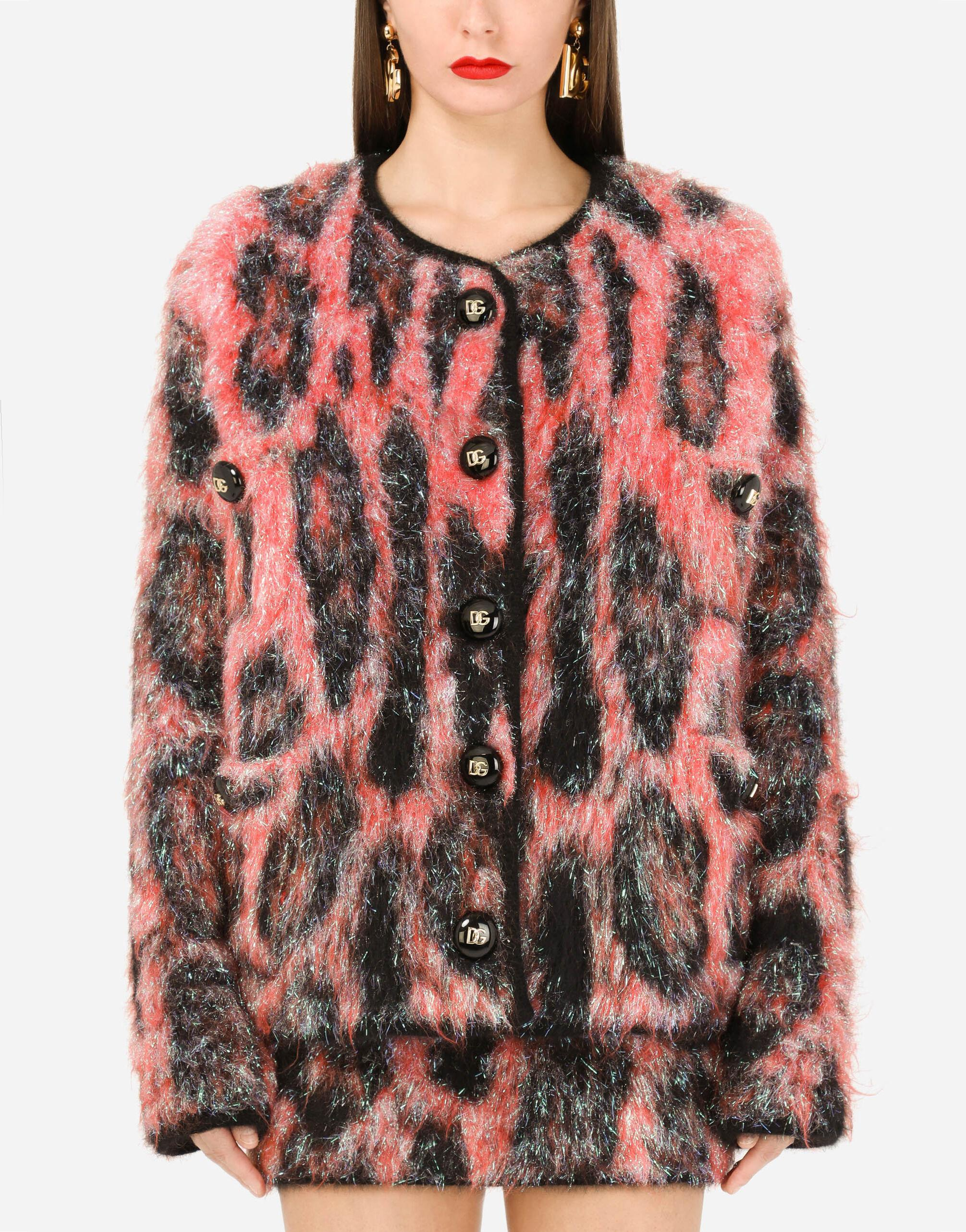 Knit jacquard jacket with neon leopard design