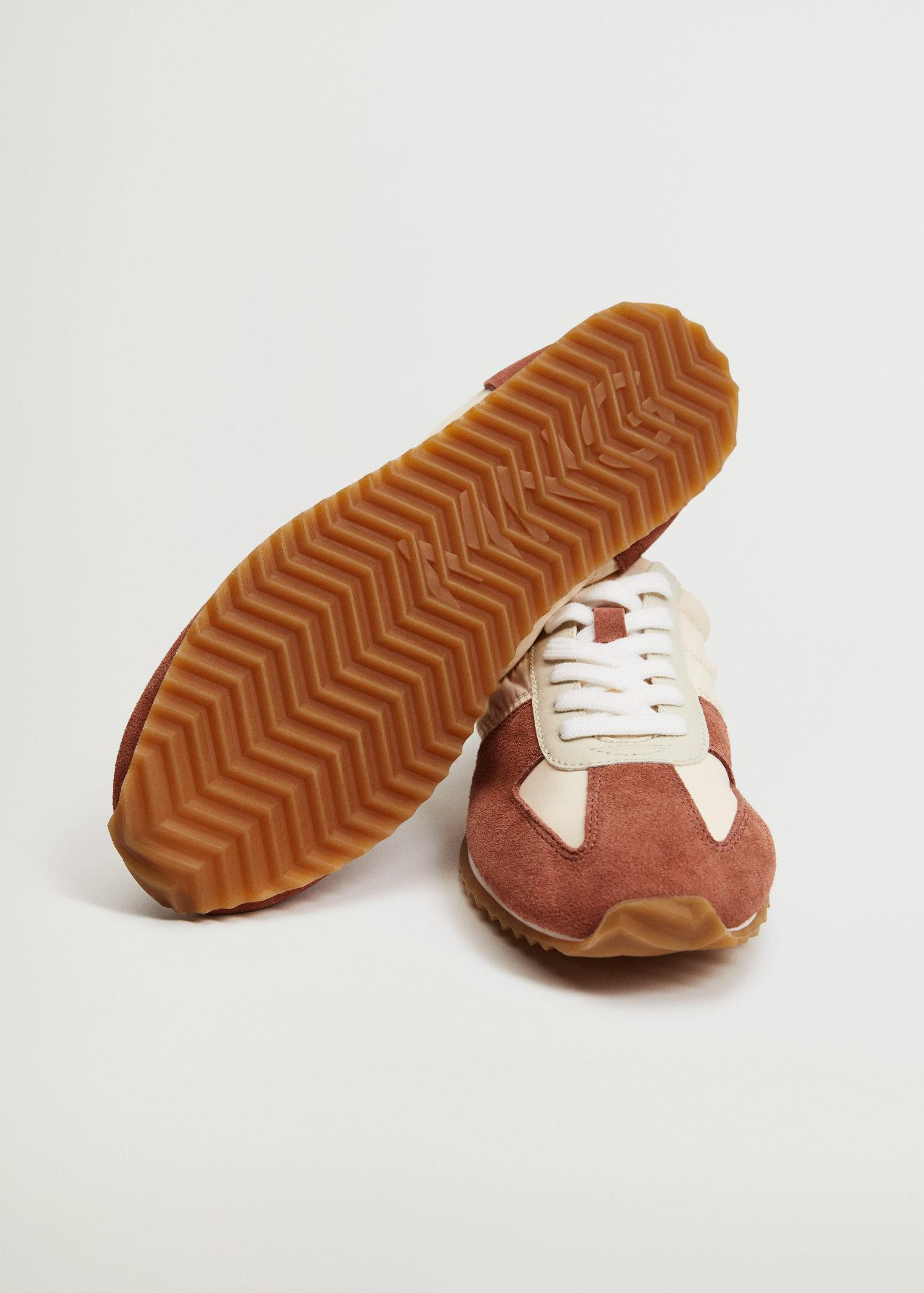 Leather mixed sneakers 4