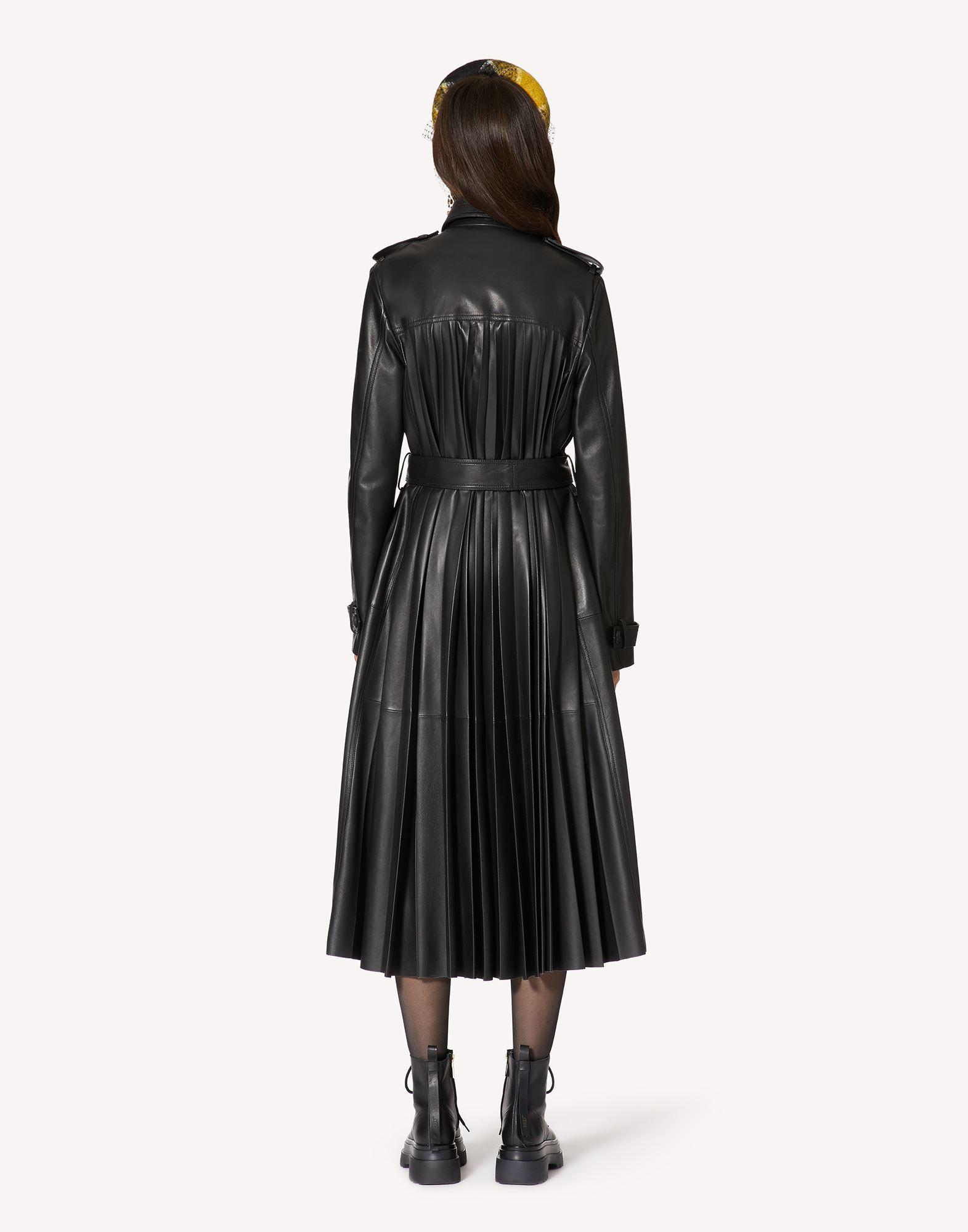 PLEATED LEATHER TRENCH COAT 1