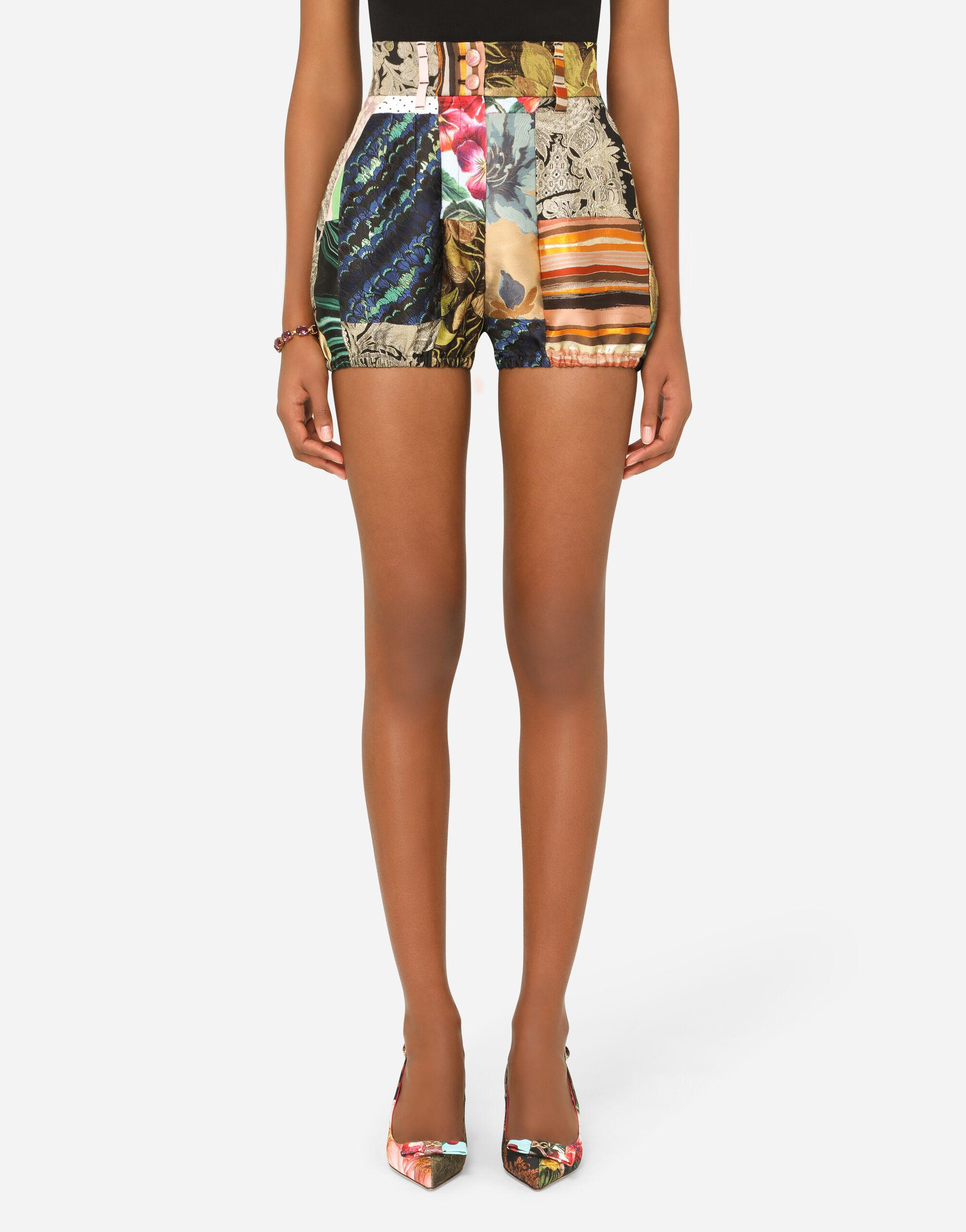 Patchwork panties in patchwork twill and brocade jacquard