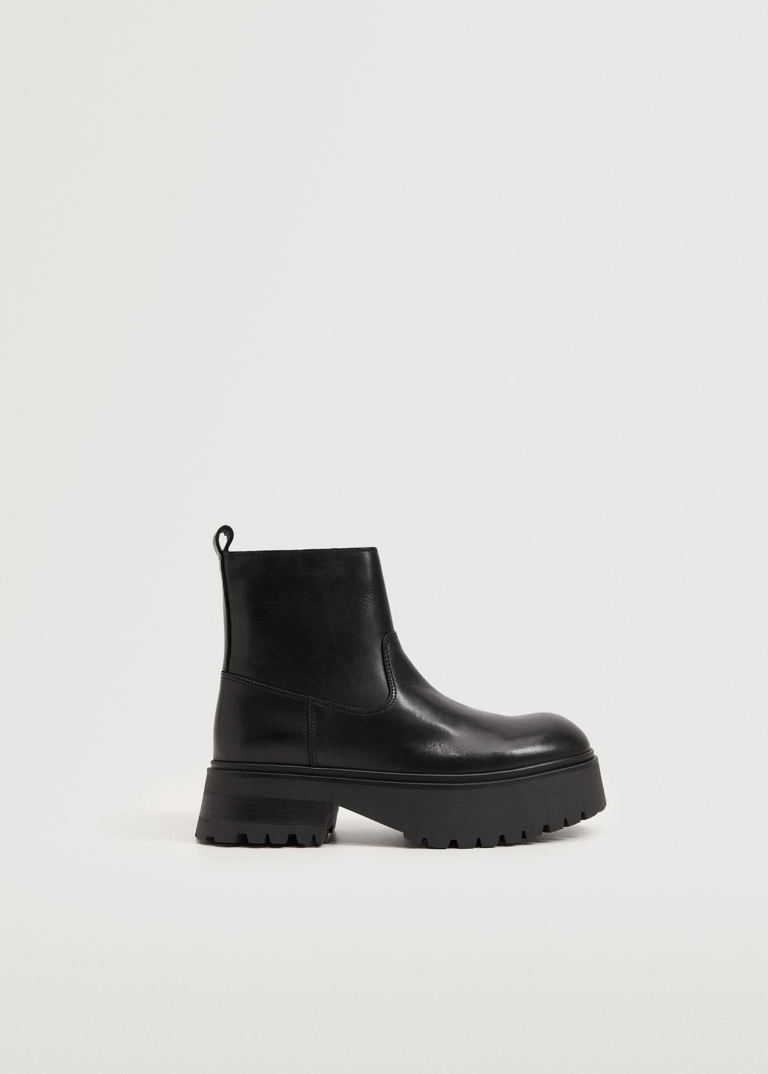 Platform leather ankle boots