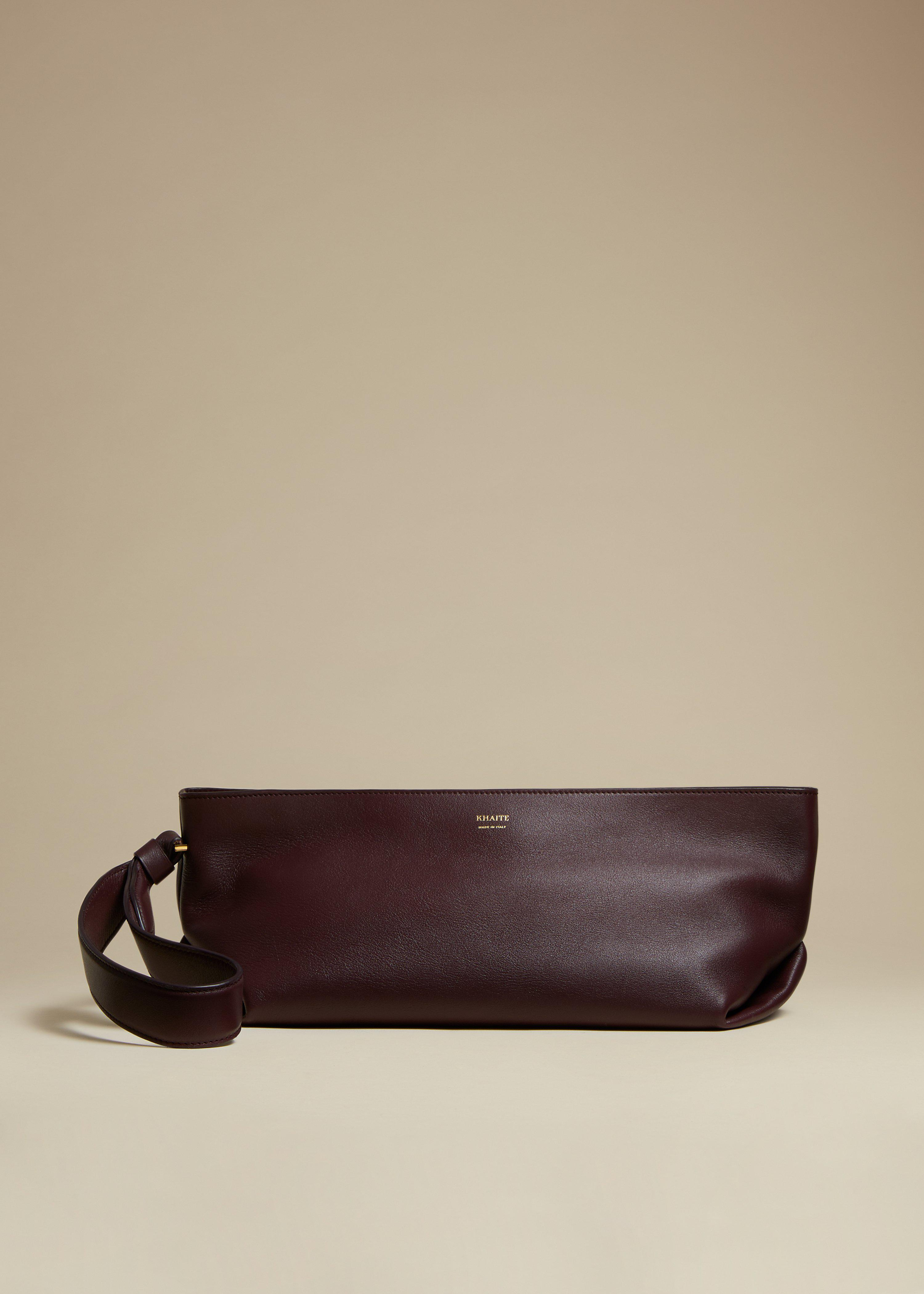 The Alma Wristlet in Deep Red Leather