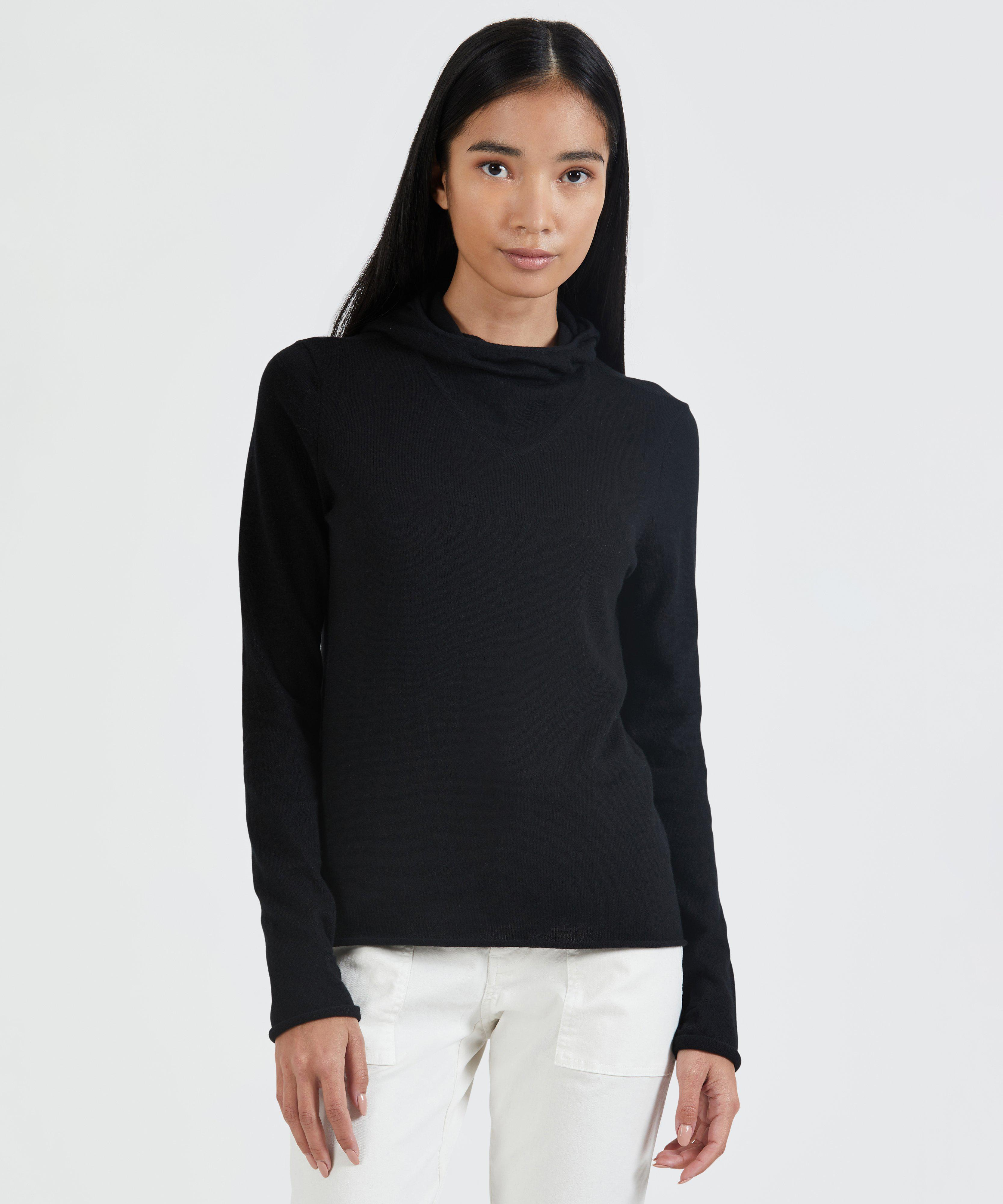 Cotton Cashmere Pull Over Hooded Sweater - Black