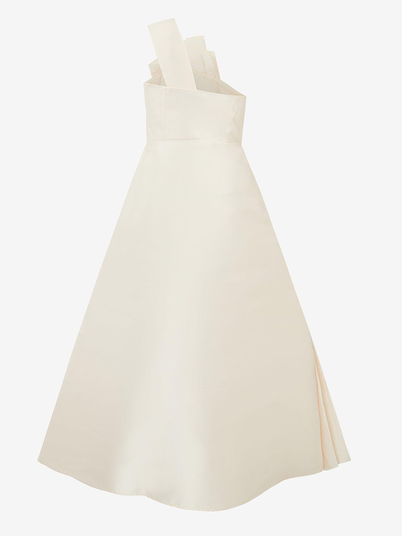 Architectural Pleated Dress (white satin) 1