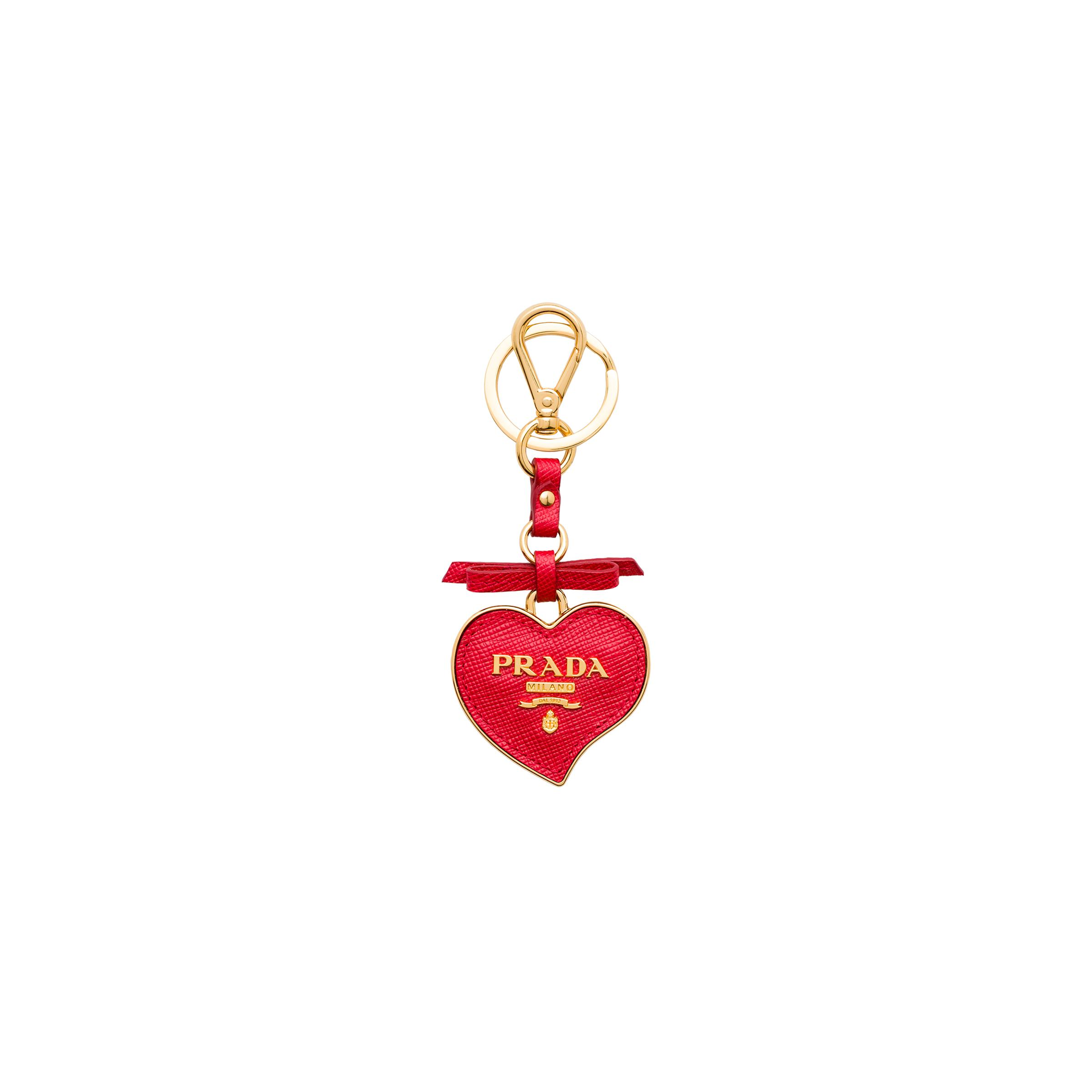 Saffiano And Metal Keychain Trick Women Red