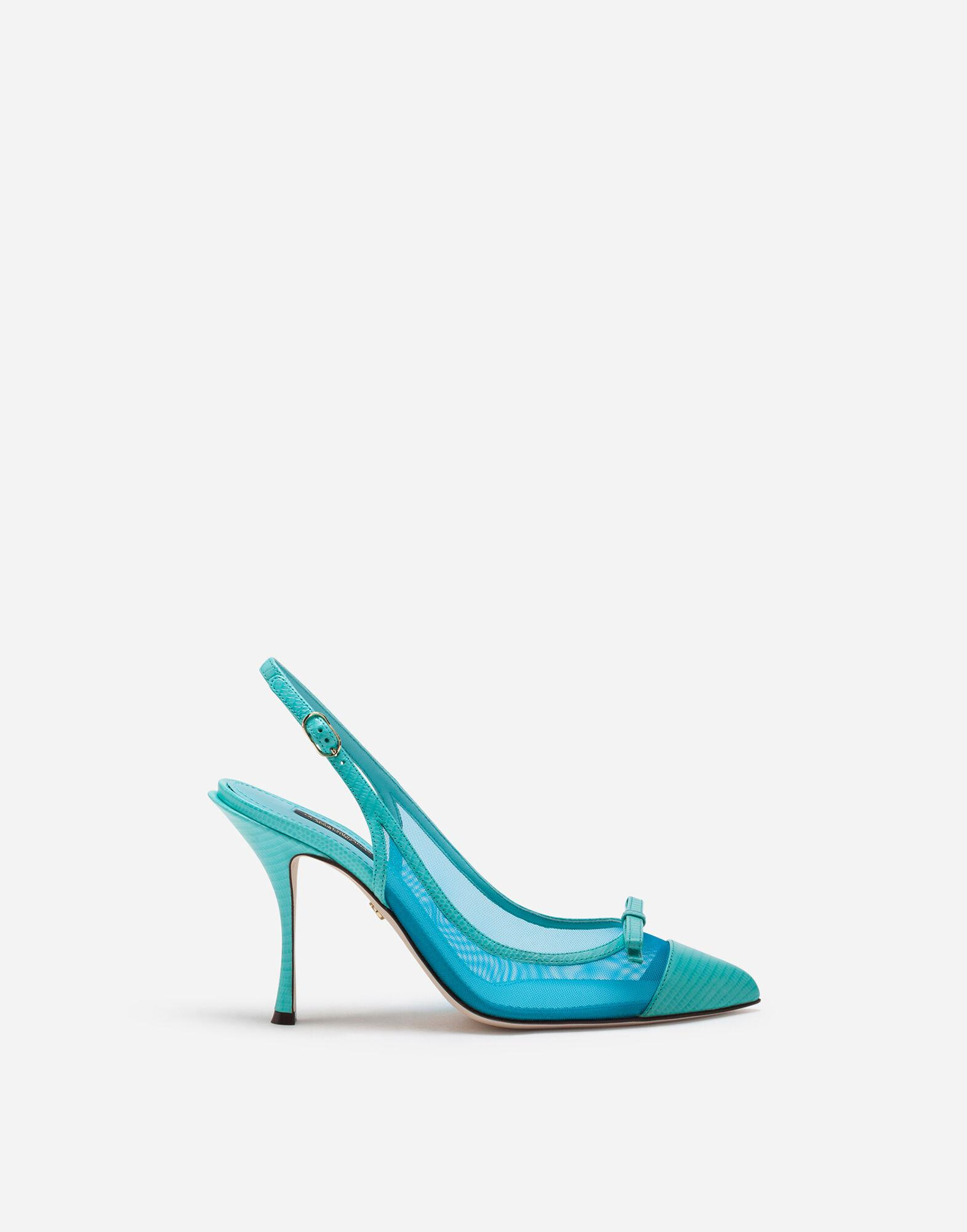 Sling back shoes in iguana print leather and mesh