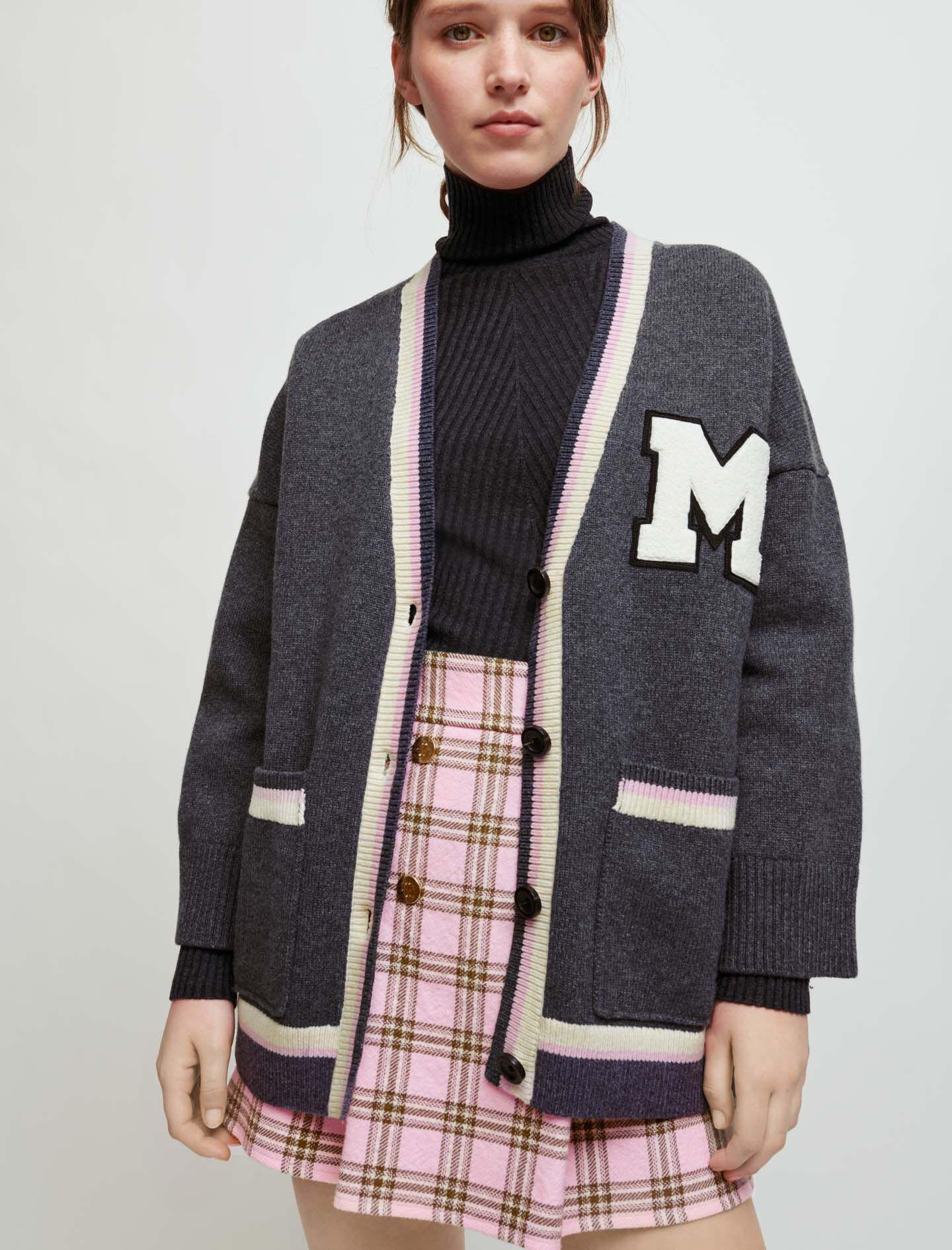 COLLEGE CARDIGAN WITH M PATCH