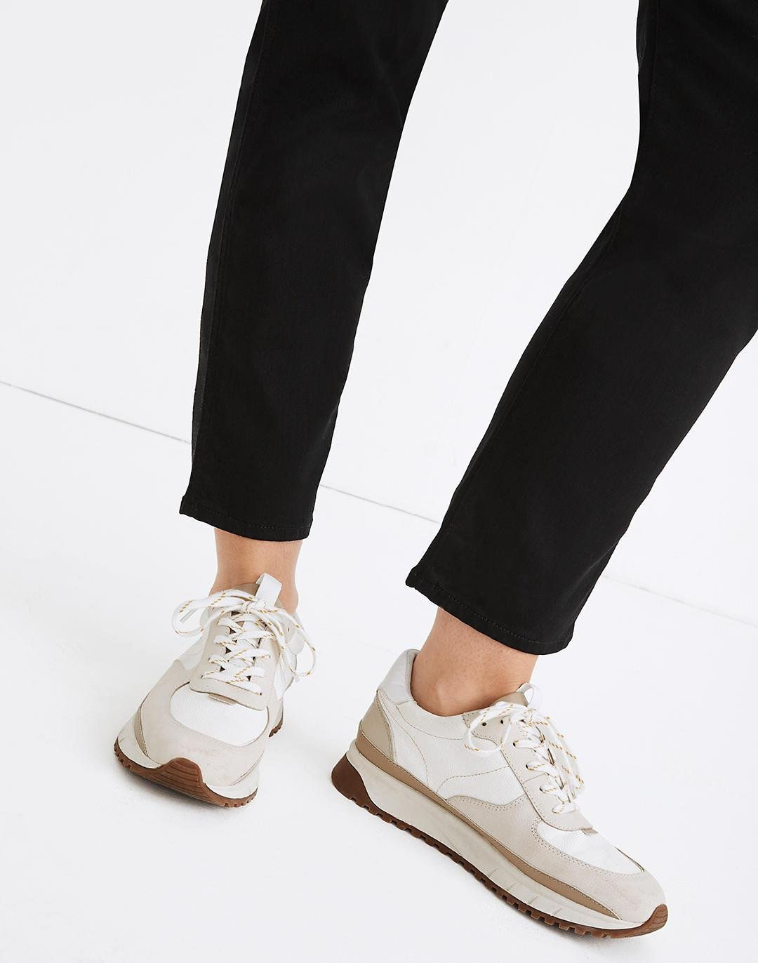 Kickoff Trainer Sneakers in Neutral Colorblock Leather 3
