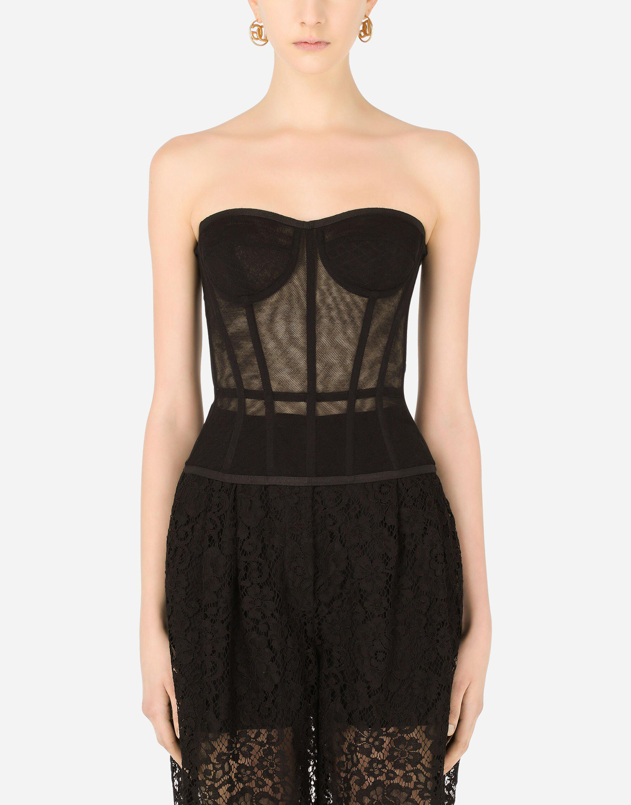 Cotton tulle bustier top