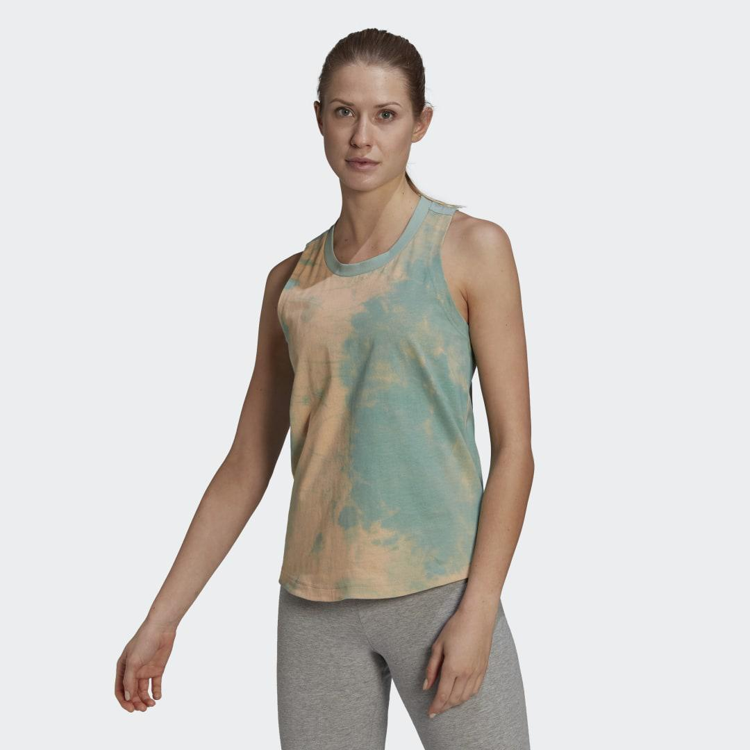 Tie-Dyed Effect Tank Top Clear Mint