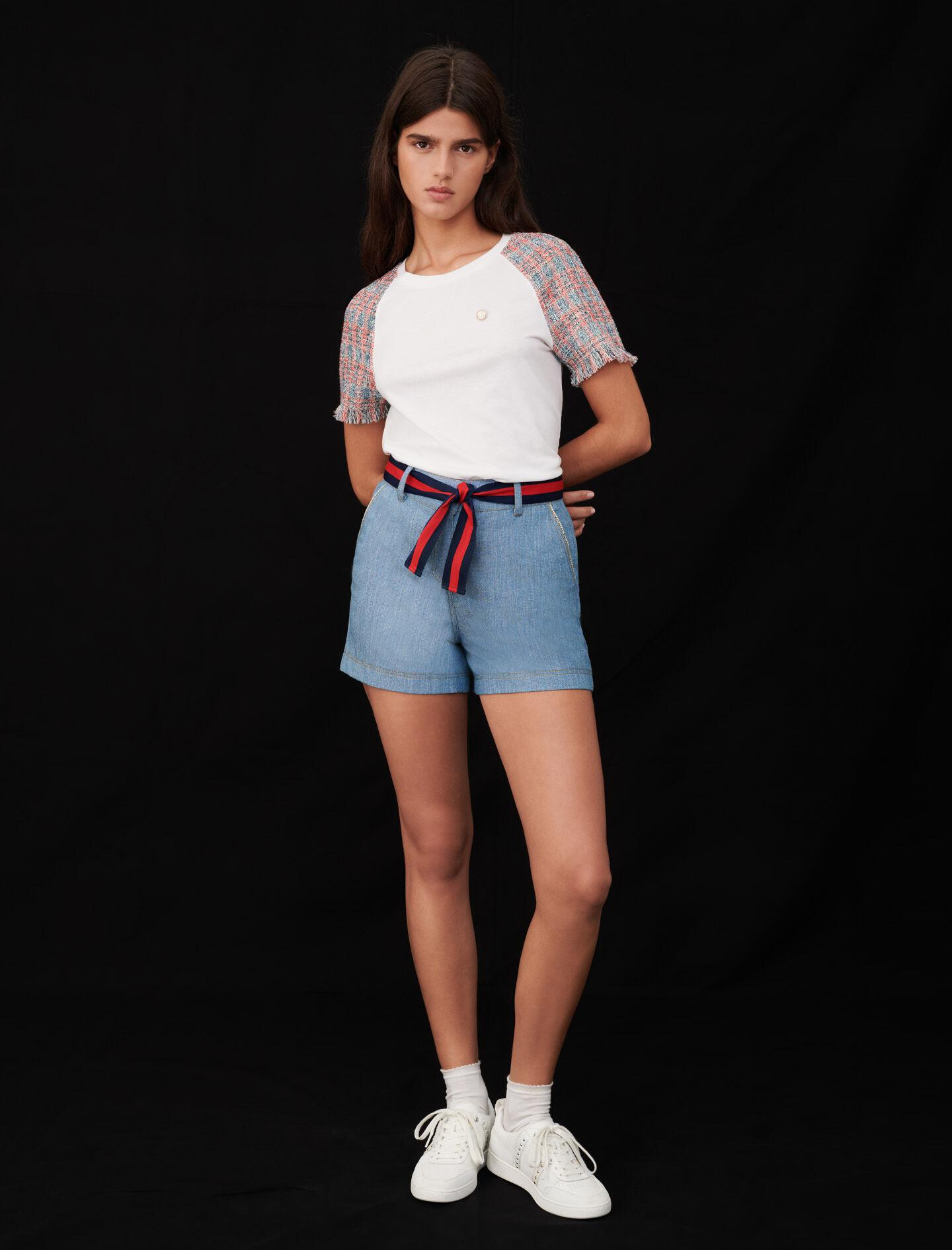 JERSEY T-SHIRT WITH TWEED SLEEVES 1