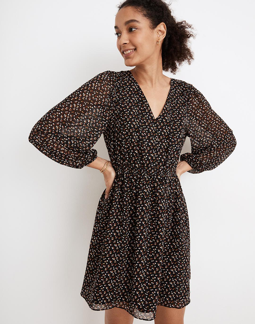 (Re)sourced Georgette Button-Front Mini Dress in Adorable Ditsy